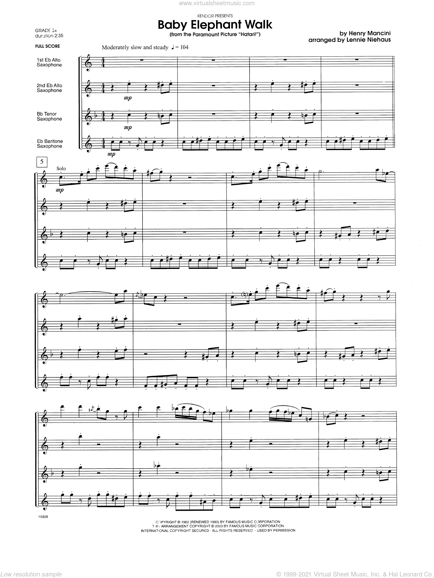 Baby Elephant Walk (From The Paramount Picture Hatari!) sheet music for saxophone quartet (full score) by Henry Mancini and Lennie Niehaus, intermediate saxophone quartet (full score). Score Image Preview.