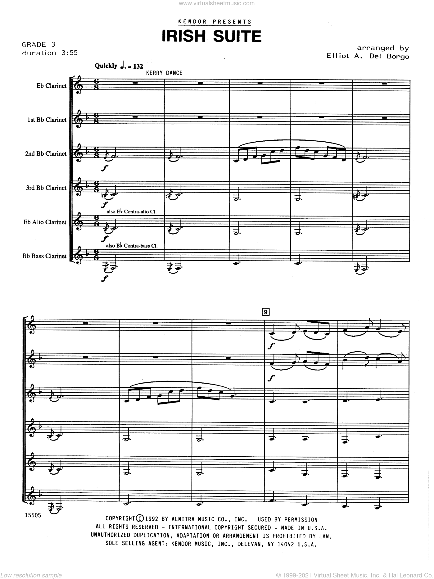 Irish Suite sheet music for clarinet ensemble (full score) by Elliot A. Del Borgo. Score Image Preview.