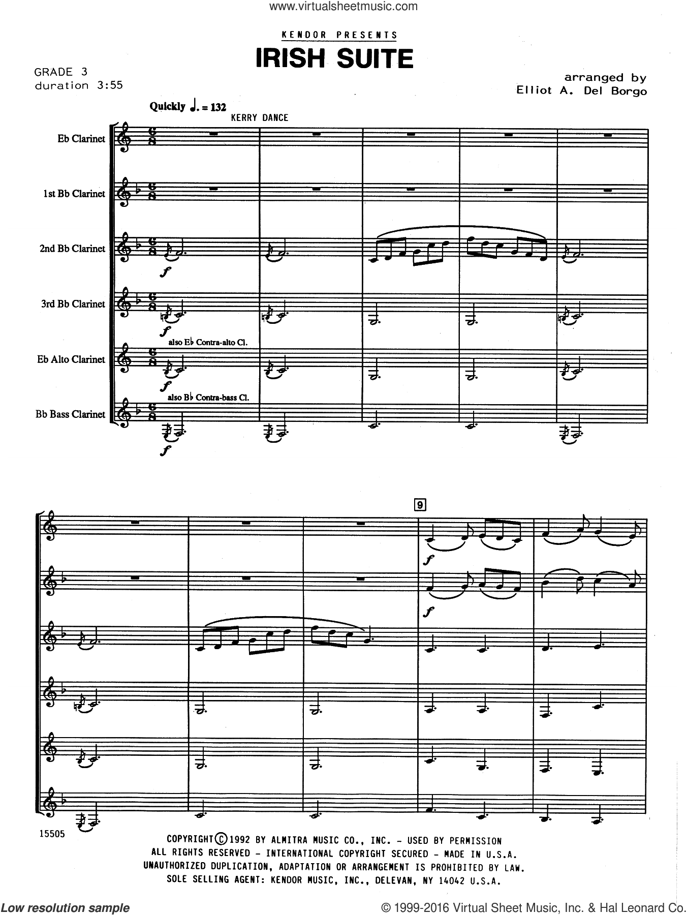 Irish Suite (COMPLETE) sheet music for clarinet ensemble by Elliot A. Del Borgo. Score Image Preview.
