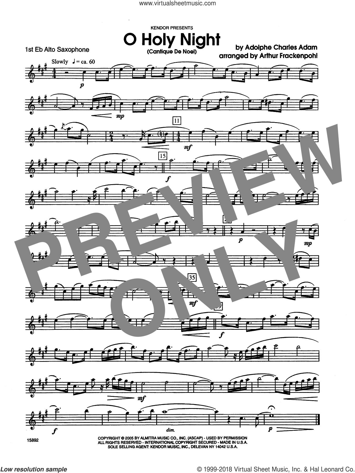 O Holy Night (Cantique de Noel) sheet music for saxophone trio (1st Eb alto saxophone) by Arthur Frackenpohl, Adolphe Adam and Adam, intermediate skill level