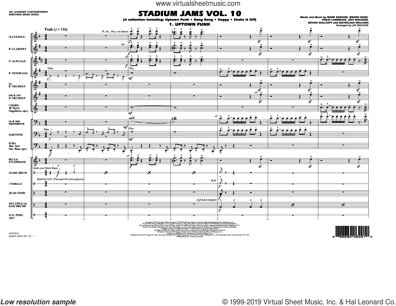 Stadium Jams Vol. 10 (COMPLETE) sheet music for marching band by Jay Bocook, intermediate skill level