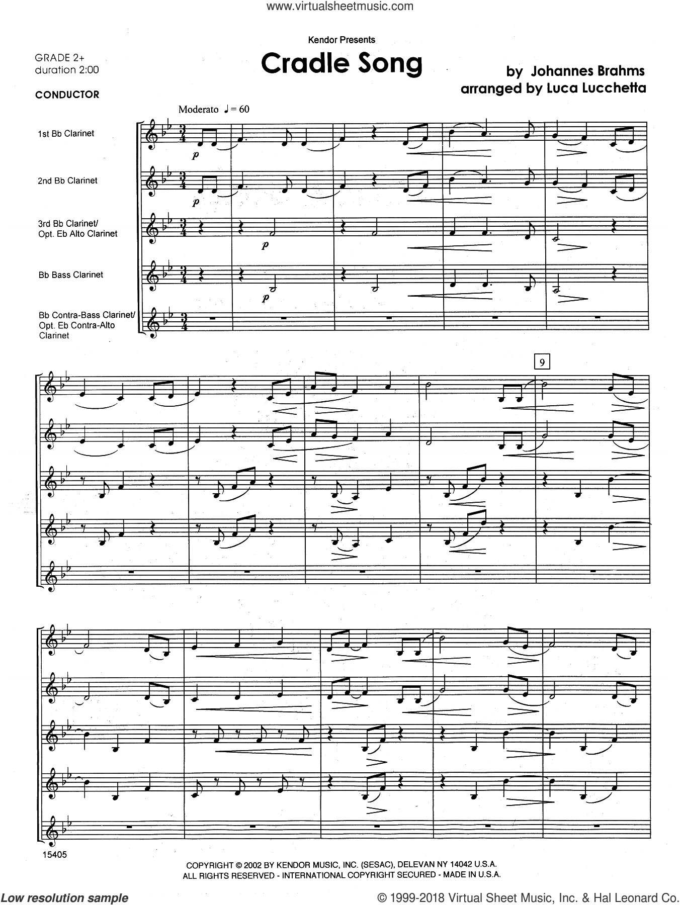 Cradle Song (COMPLETE) sheet music for clarinet quintet by Johannes Brahms and Lucchetta, classical score, intermediate