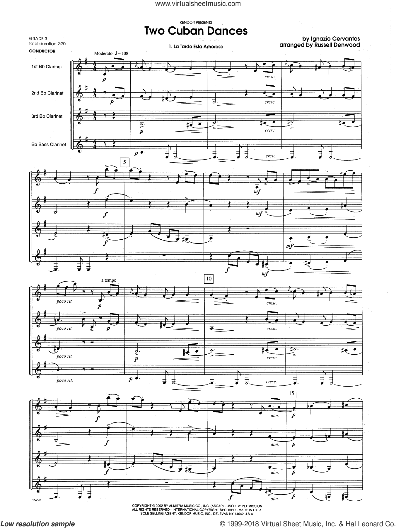 Two Cuban Dances (COMPLETE) sheet music for clarinet quartet by Russell Denwood and Cervantes, intermediate. Score Image Preview.
