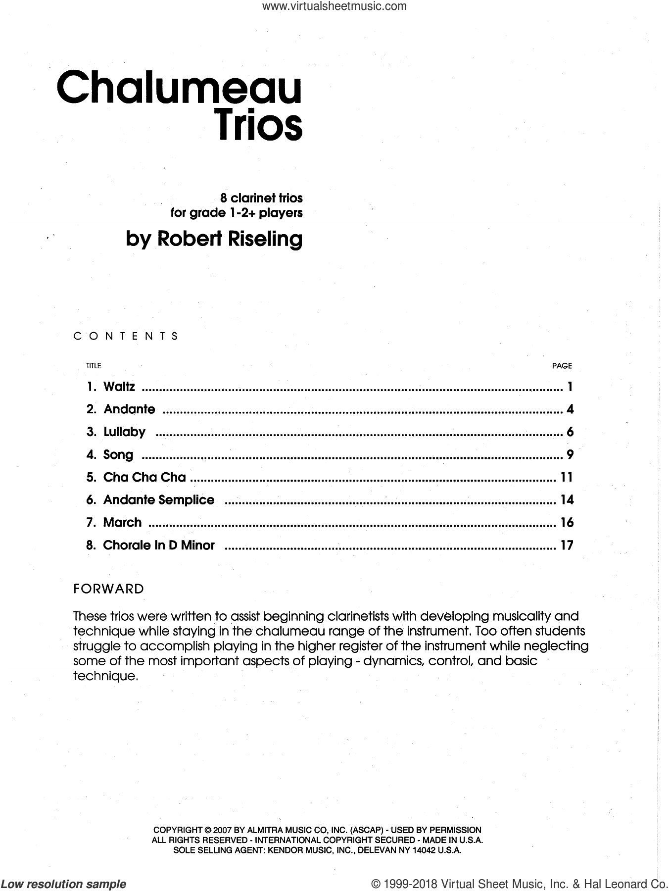 Chalumeau Trios (COMPLETE) sheet music for clarinet quartet by Riseling, classical score, intermediate
