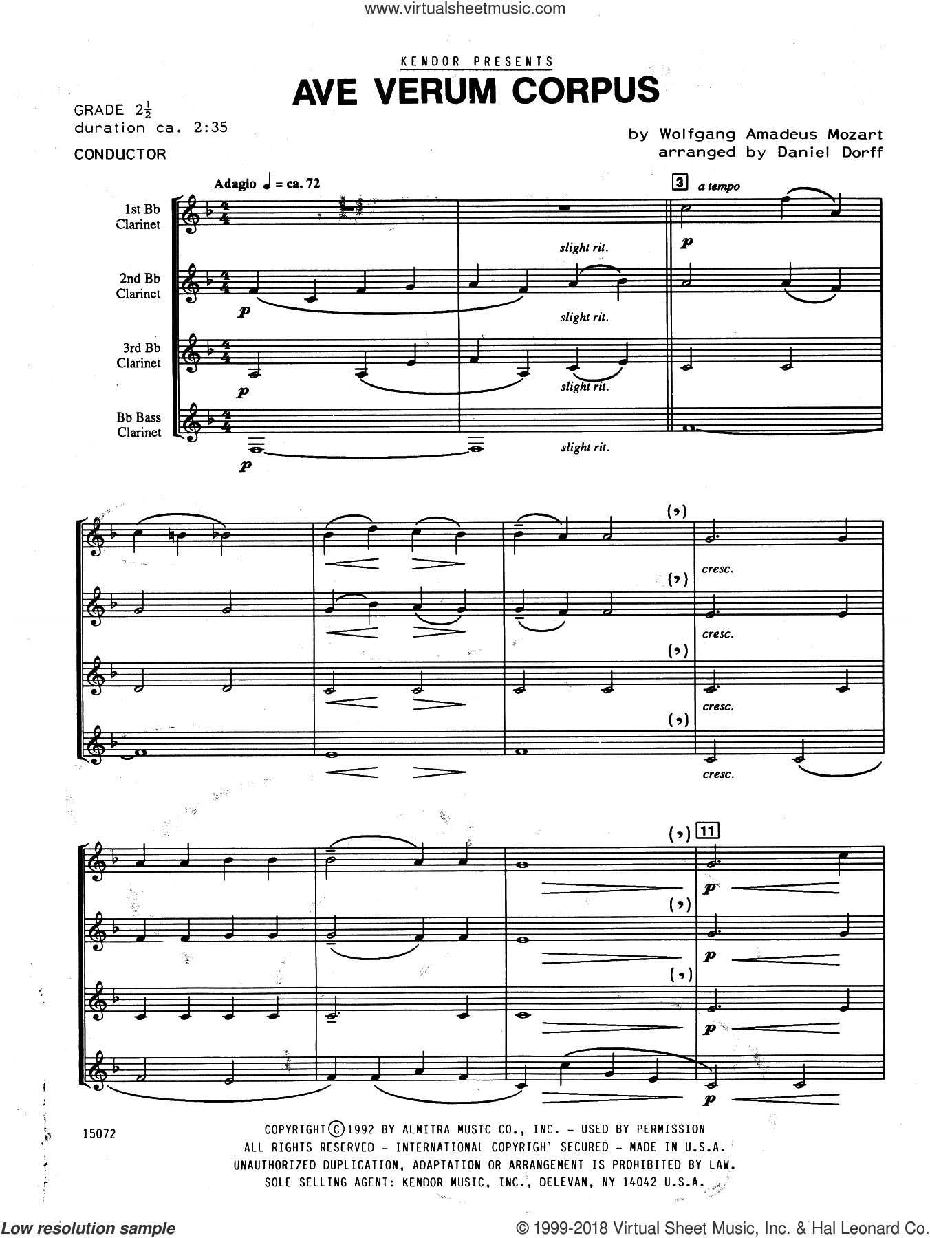 Ave Verum Corpus sheet music for clarinet quartet (full score) by Wolfgang Amadeus Mozart and Daniel Dorff, classical score, intermediate clarinet quartet (full score). Score Image Preview.