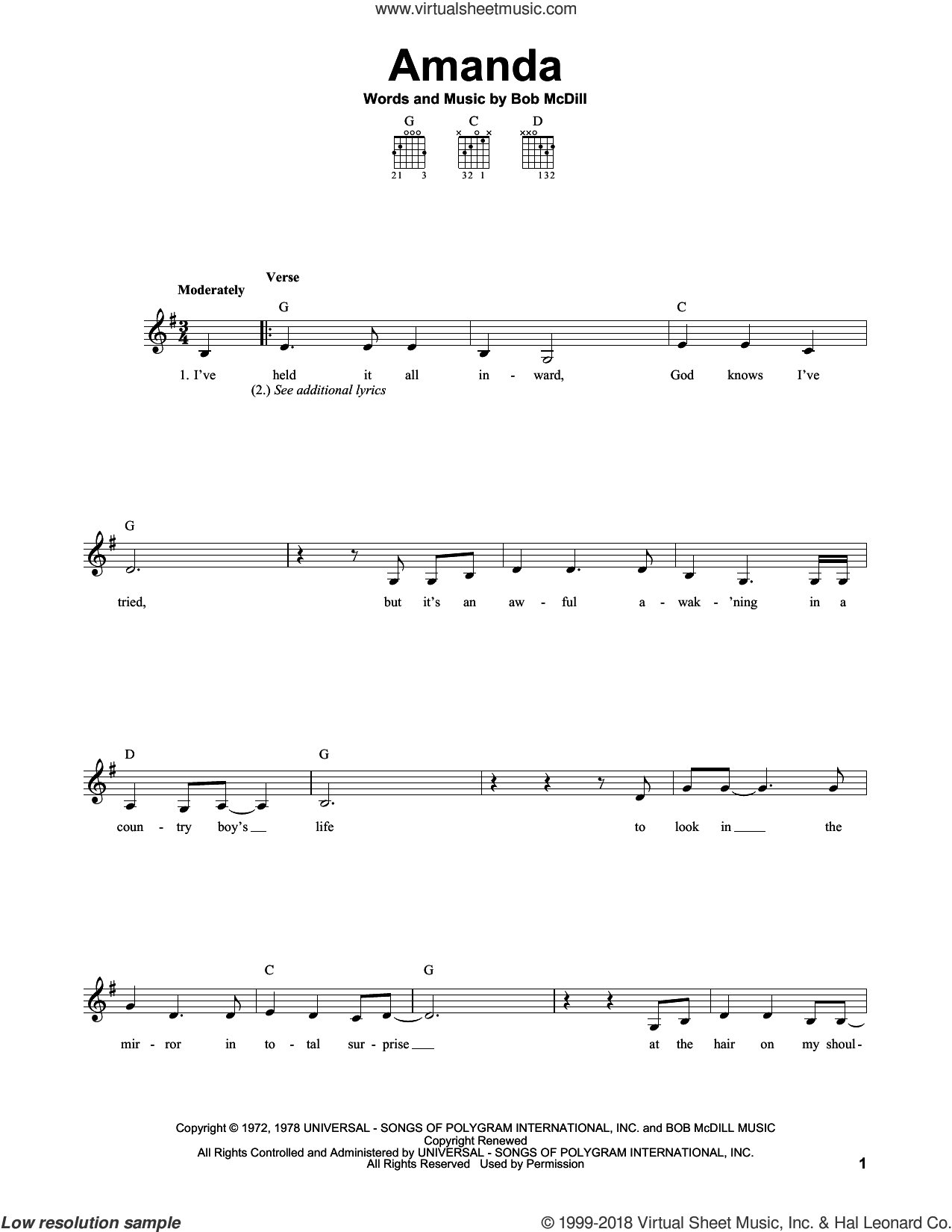 Amanda sheet music for guitar solo (chords) by Bob McDill and Waylon Jennings. Score Image Preview.