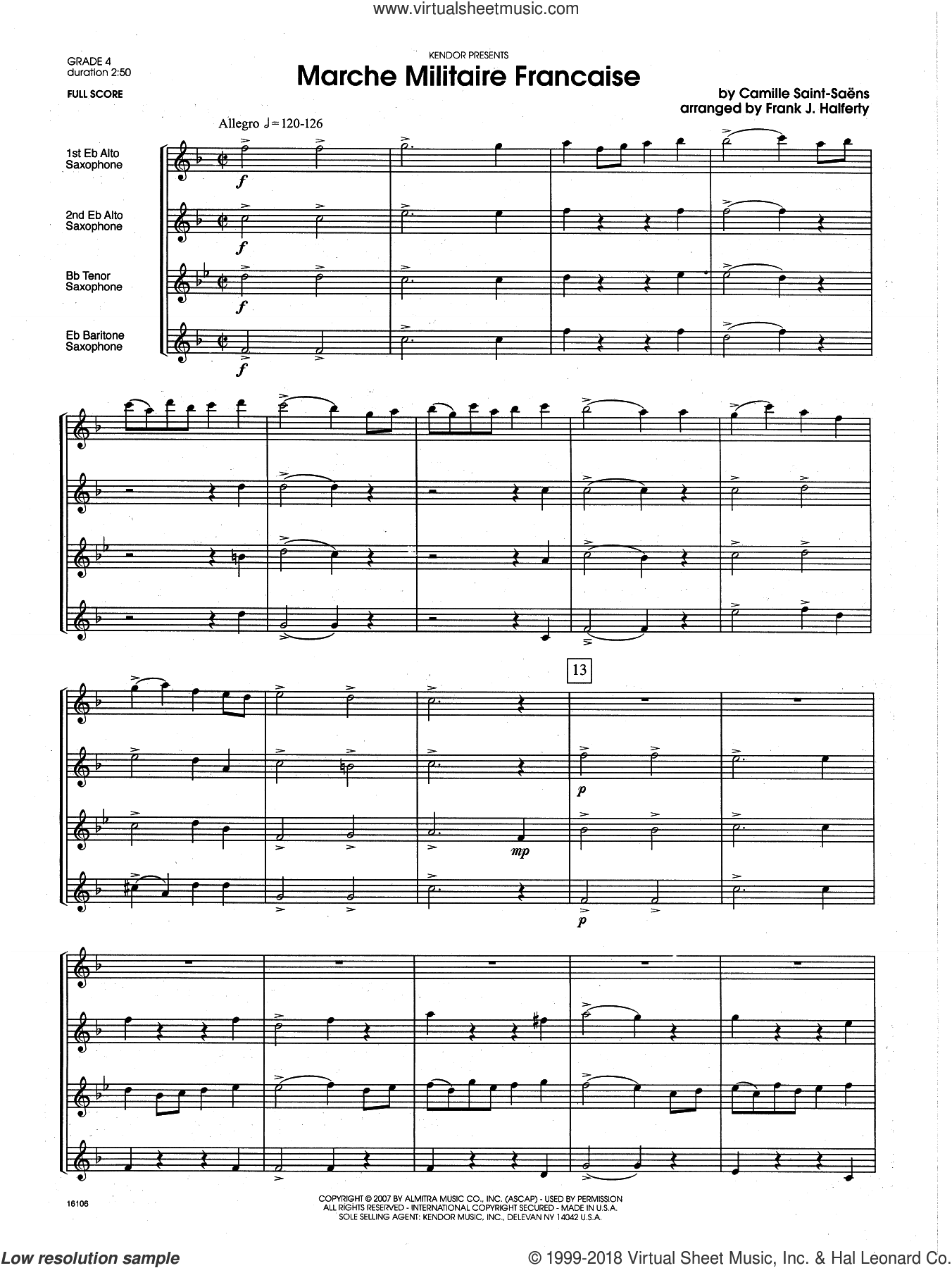 Marche Militaire Francaise (COMPLETE) sheet music for saxophone quartet by Camille Saint-Saens and Frank J. Halferty, classical score, intermediate skill level