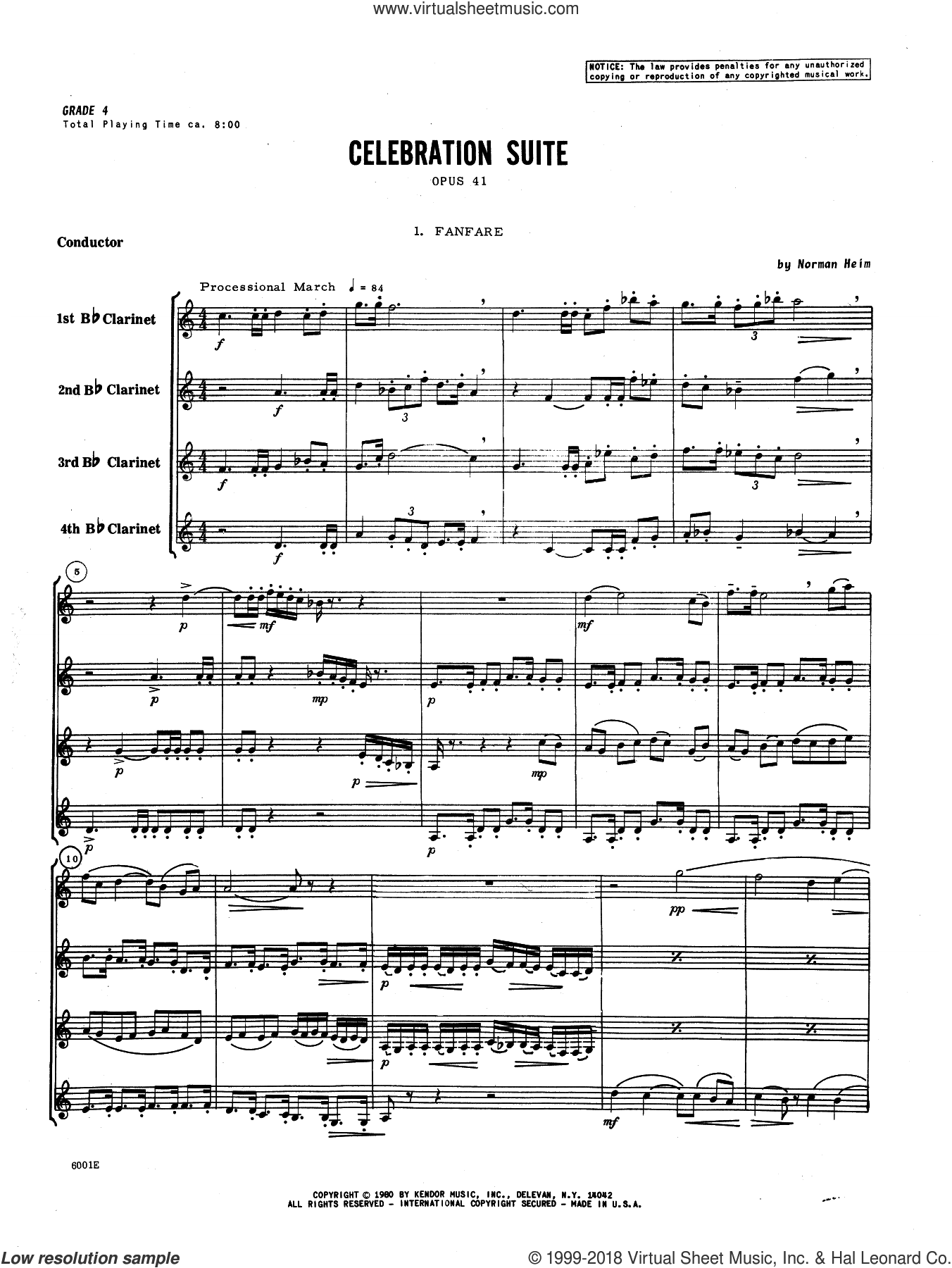 Celebration Suite (COMPLETE) sheet music for clarinet quartet by Norman Heim, classical score, intermediate skill level