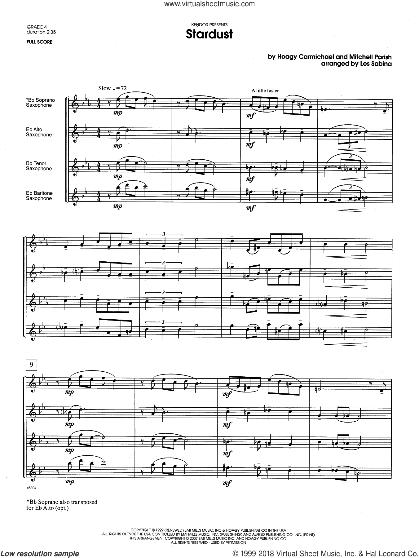 Stardust (COMPLETE) sheet music for saxophone quartet by Les Sabina, intermediate saxophone quartet. Score Image Preview.