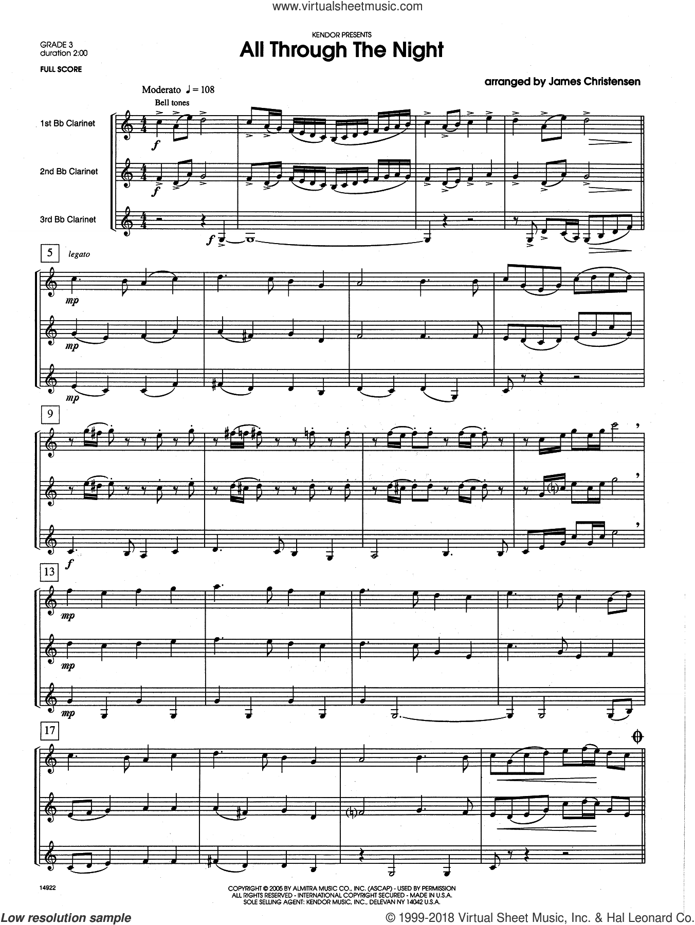 All Through the Night (COMPLETE) sheet music for clarinet quartet by James Christensen, intermediate