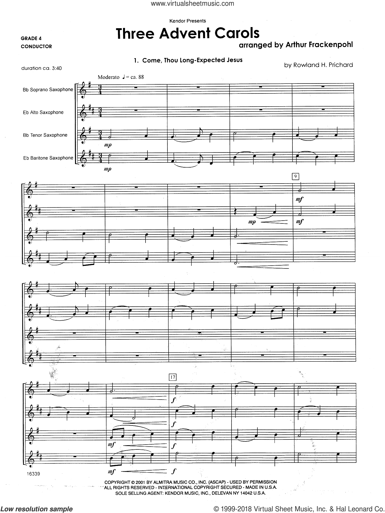 Three Advent Carols (COMPLETE) sheet music for saxophone quartet by Arthur Frackenpohl, intermediate. Score Image Preview.