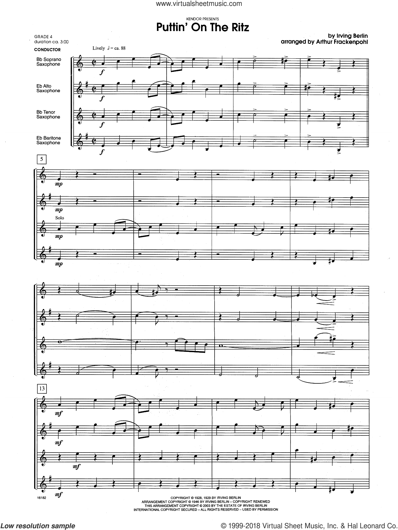 Puttin' on the Ritz (COMPLETE) sheet music for saxophone quartet by Irving Berlin and Arthur Frackenpohl, intermediate skill level