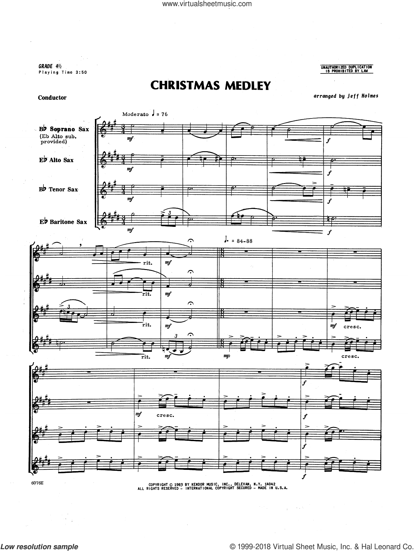 Christmas Medley (COMPLETE) sheet music for saxophone quartet by Holmes, intermediate skill level
