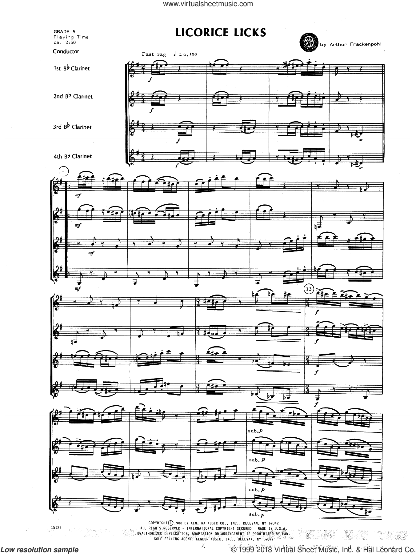 Licorice Licks (COMPLETE) sheet music for clarinet quartet by Arthur Frackenpohl, intermediate skill level