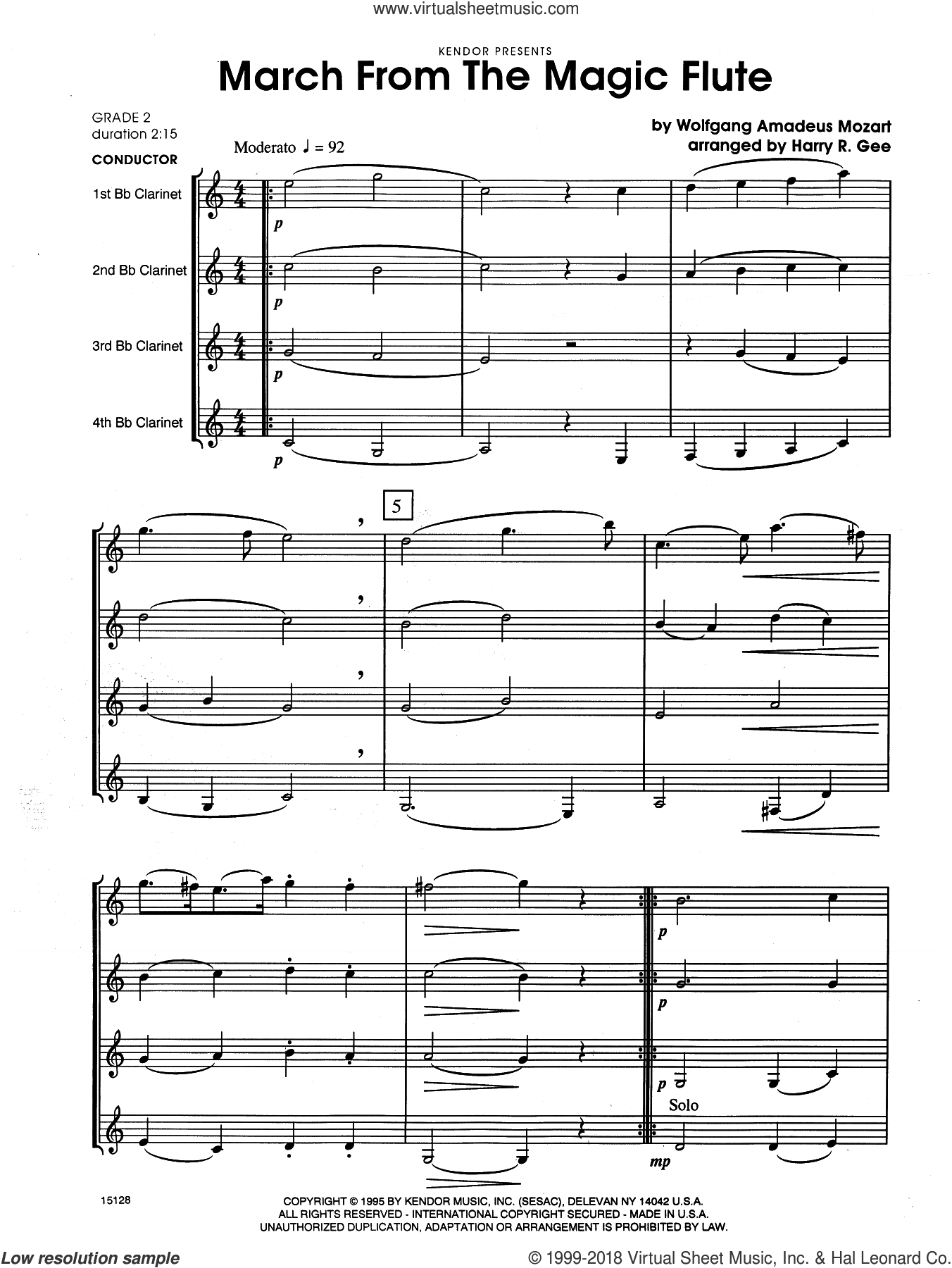 March From The Magic Flute (COMPLETE) sheet music for four clarinets by Wolfgang Amadeus Mozart and Harry Gee, classical score, intermediate skill level