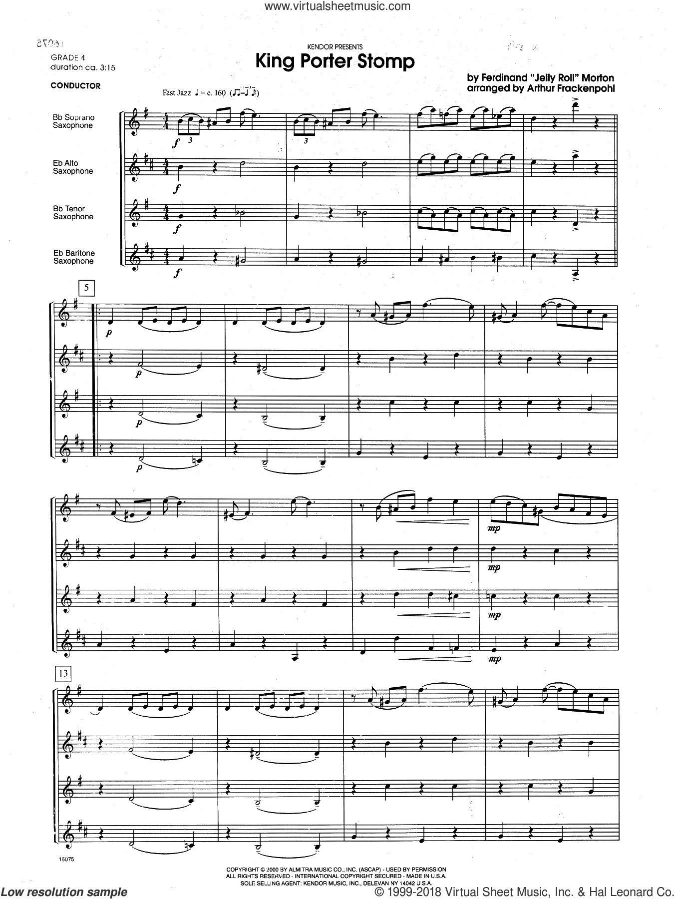 Frackenpohl King Porter Stomp Sheet Music Complete Collection For Saxophone Quartet