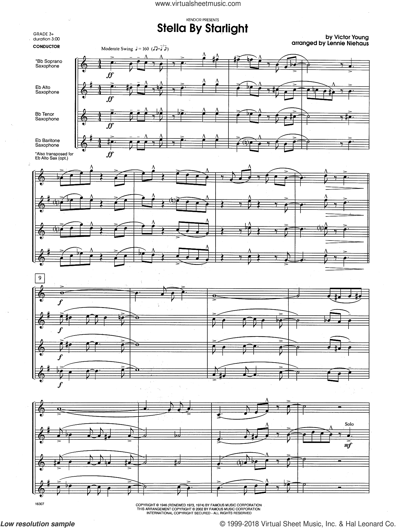 Stella By Starlight (from the Paramount Picture The Uninvited) (COMPLETE) sheet music for saxophone quartet by Lennie Niehaus and Adam Young, intermediate saxophone quartet. Score Image Preview.