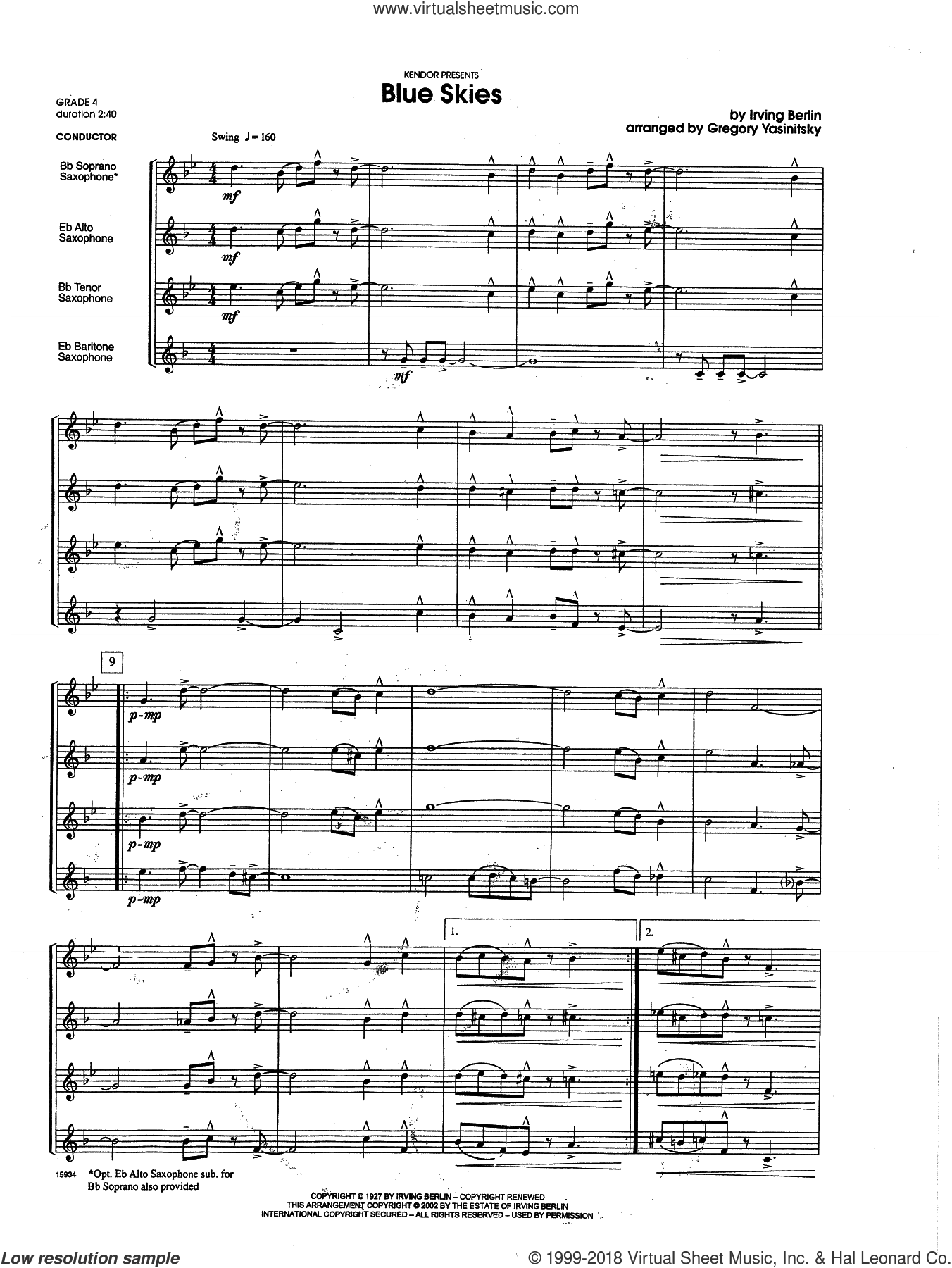Blue Skies (COMPLETE) sheet music for saxophone quartet by Berlin and Gregory Yasinitsky, intermediate. Score Image Preview.