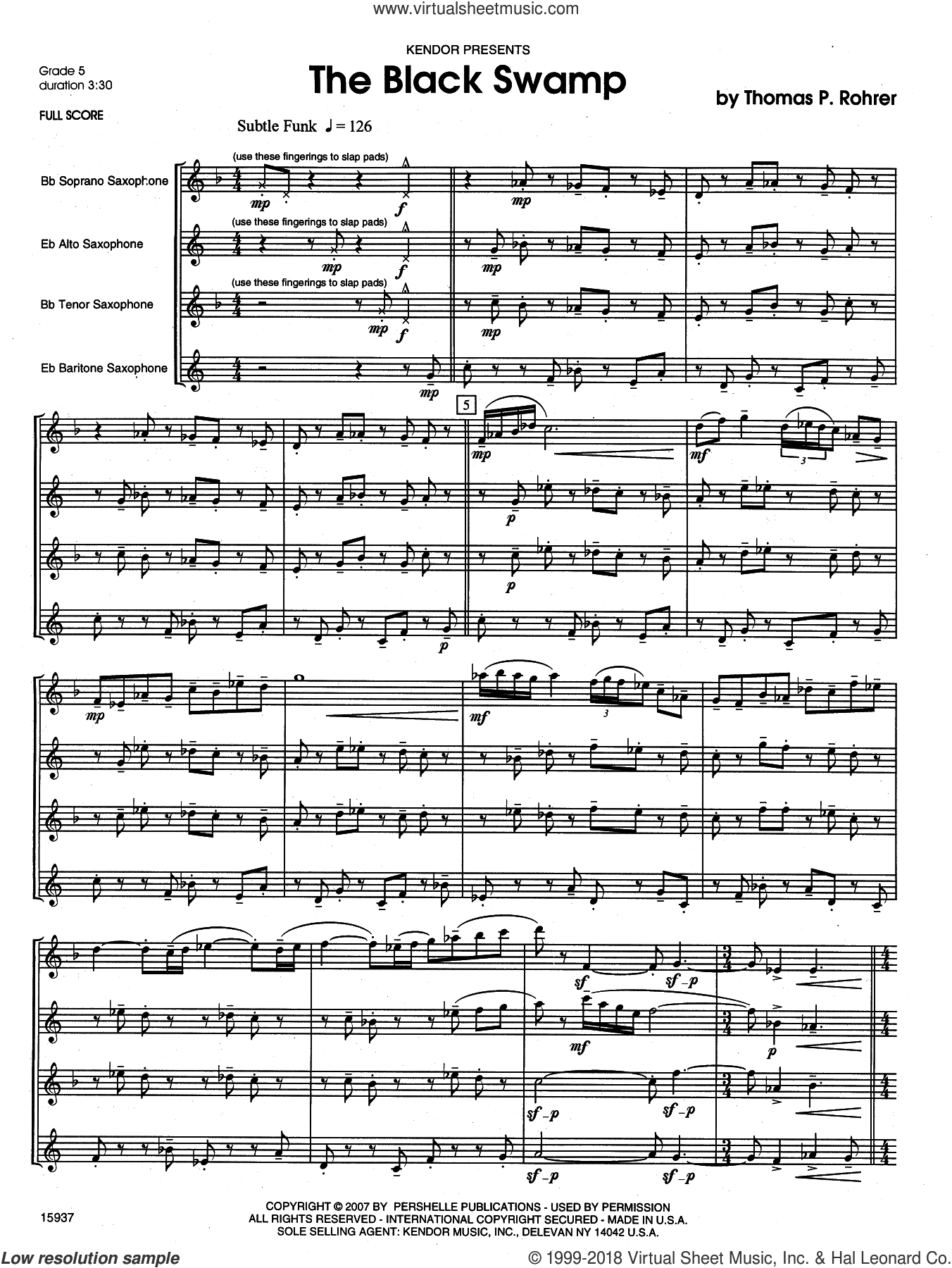 The Black Swamp (COMPLETE) sheet music for saxophone quartet by Rohrer, classical score, intermediate