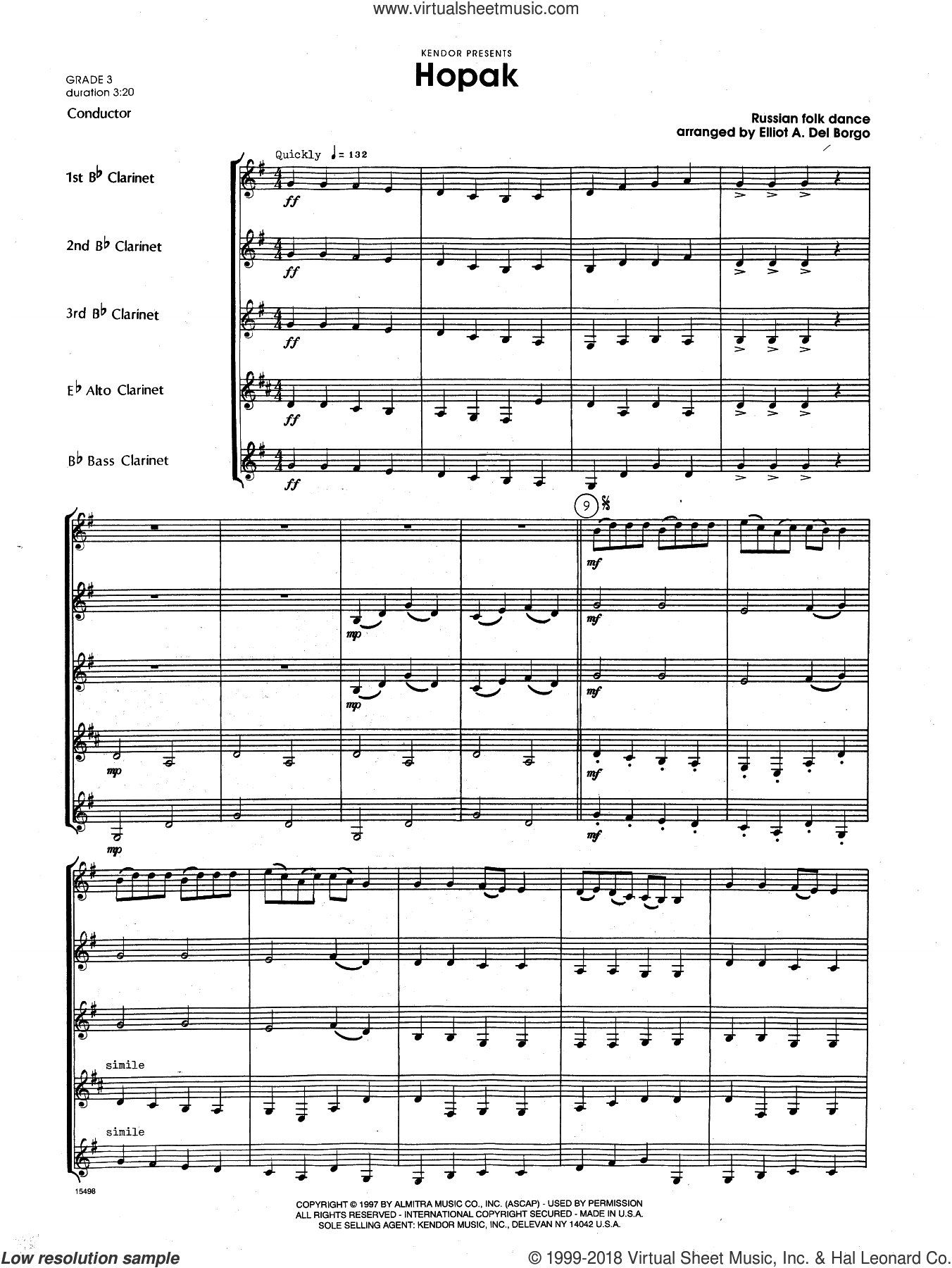 Hopak (COMPLETE) sheet music for clarinet ensemble by Elliot A. Del Borgo, classical score, intermediate