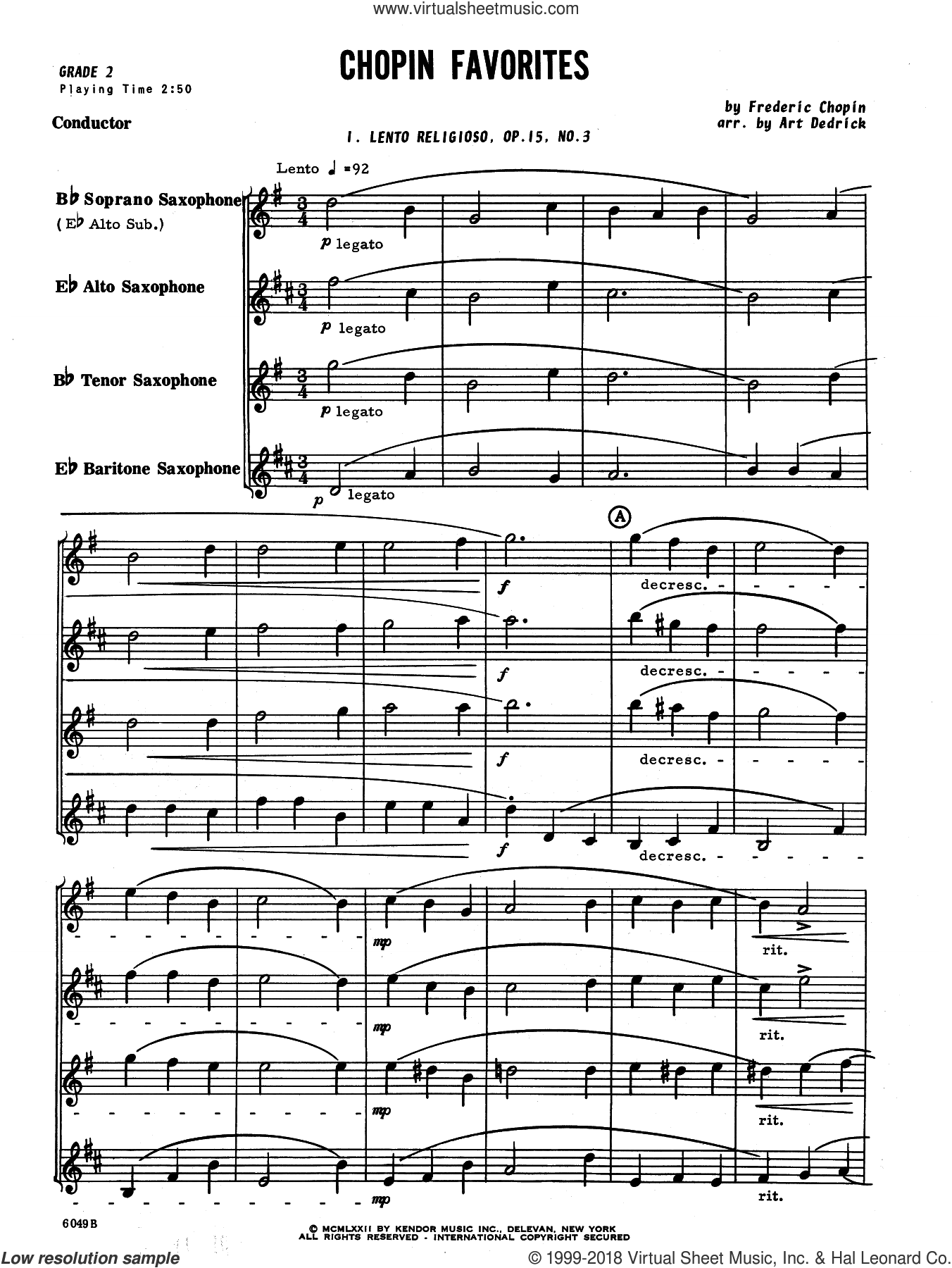 Chopin Favorites (COMPLETE) sheet music for saxophone quartet by Frederic Chopin and Art Dedrick, classical score, intermediate. Score Image Preview.
