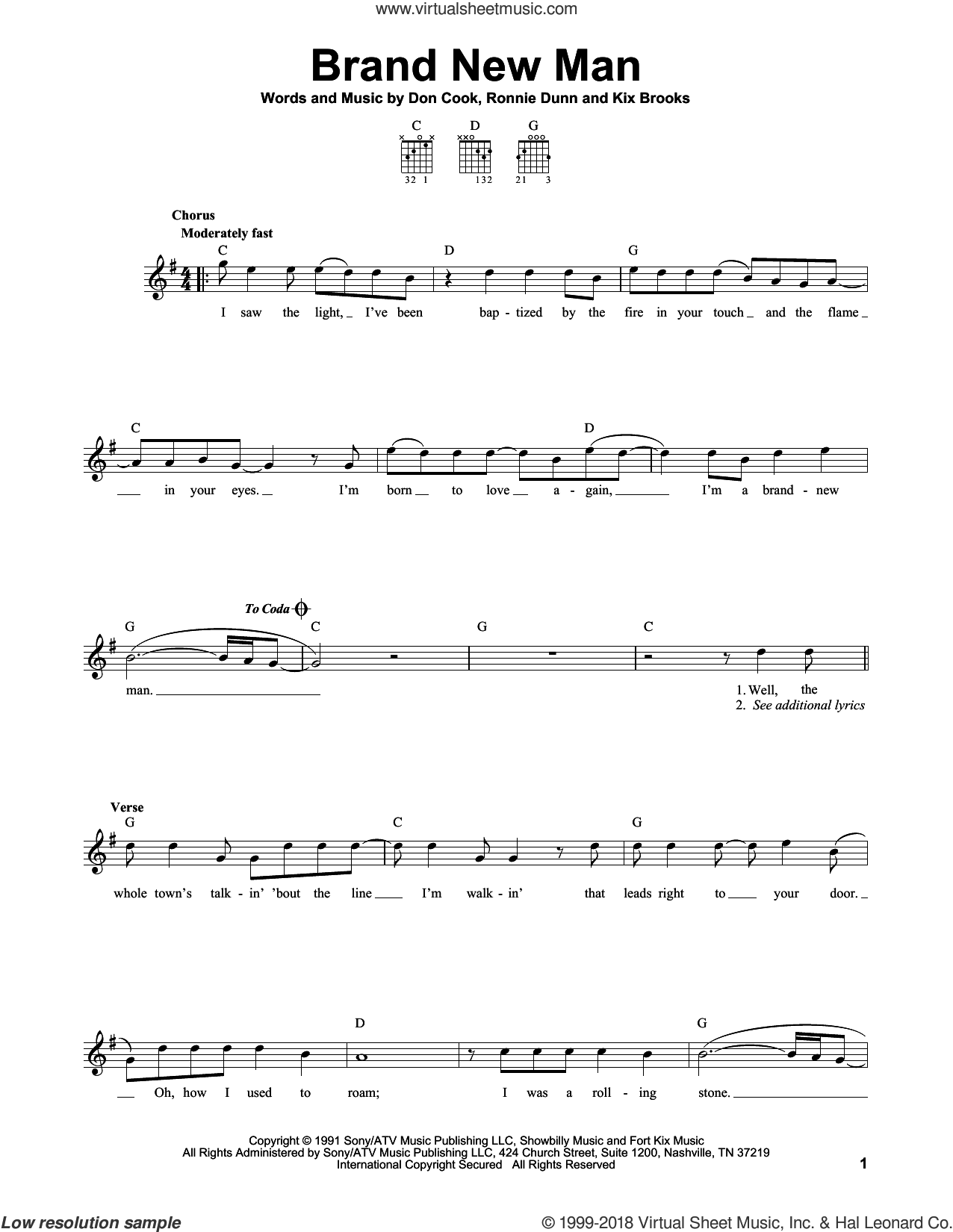 Brand New Man sheet music for guitar solo (chords) by Ronnie Dunn, Brooks & Dunn and Don Cook. Score Image Preview.