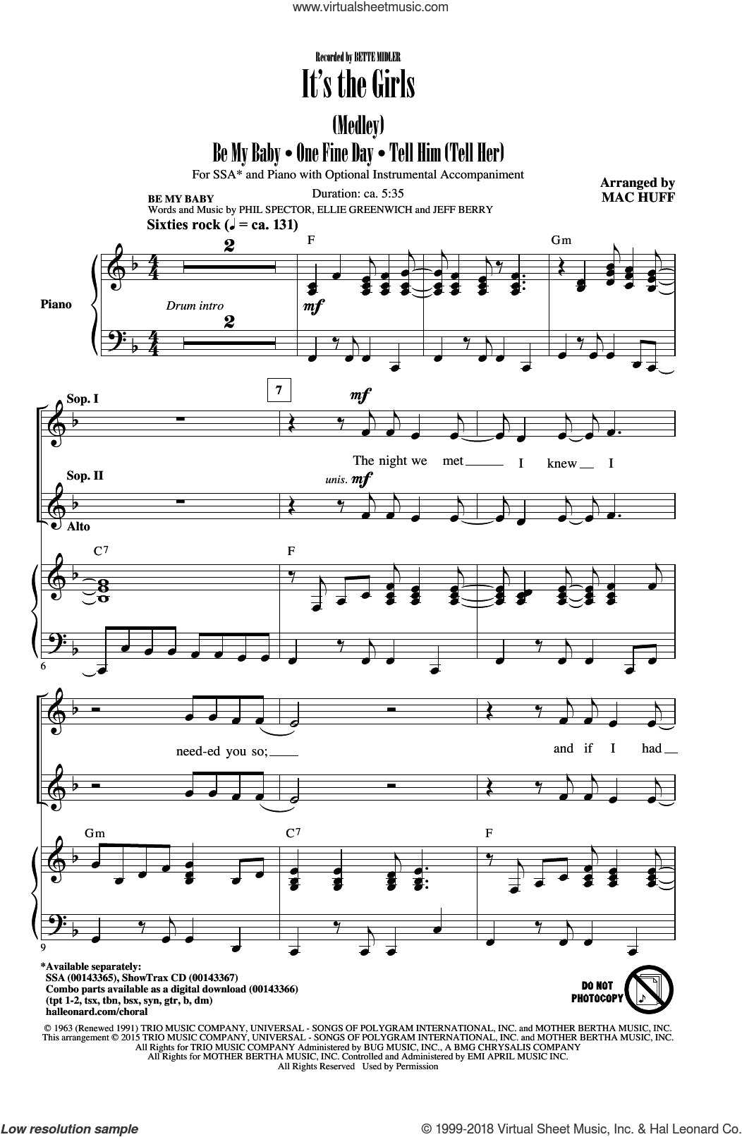 Be My Baby sheet music for choir (soprano voice, alto voice, choir) by Phil Spector, Andy Kim, Bette Midler, Michael BublA�A�, Michael Buble, Ellie Greenwich, Jeff Barry and Mac Huff. Score Image Preview.