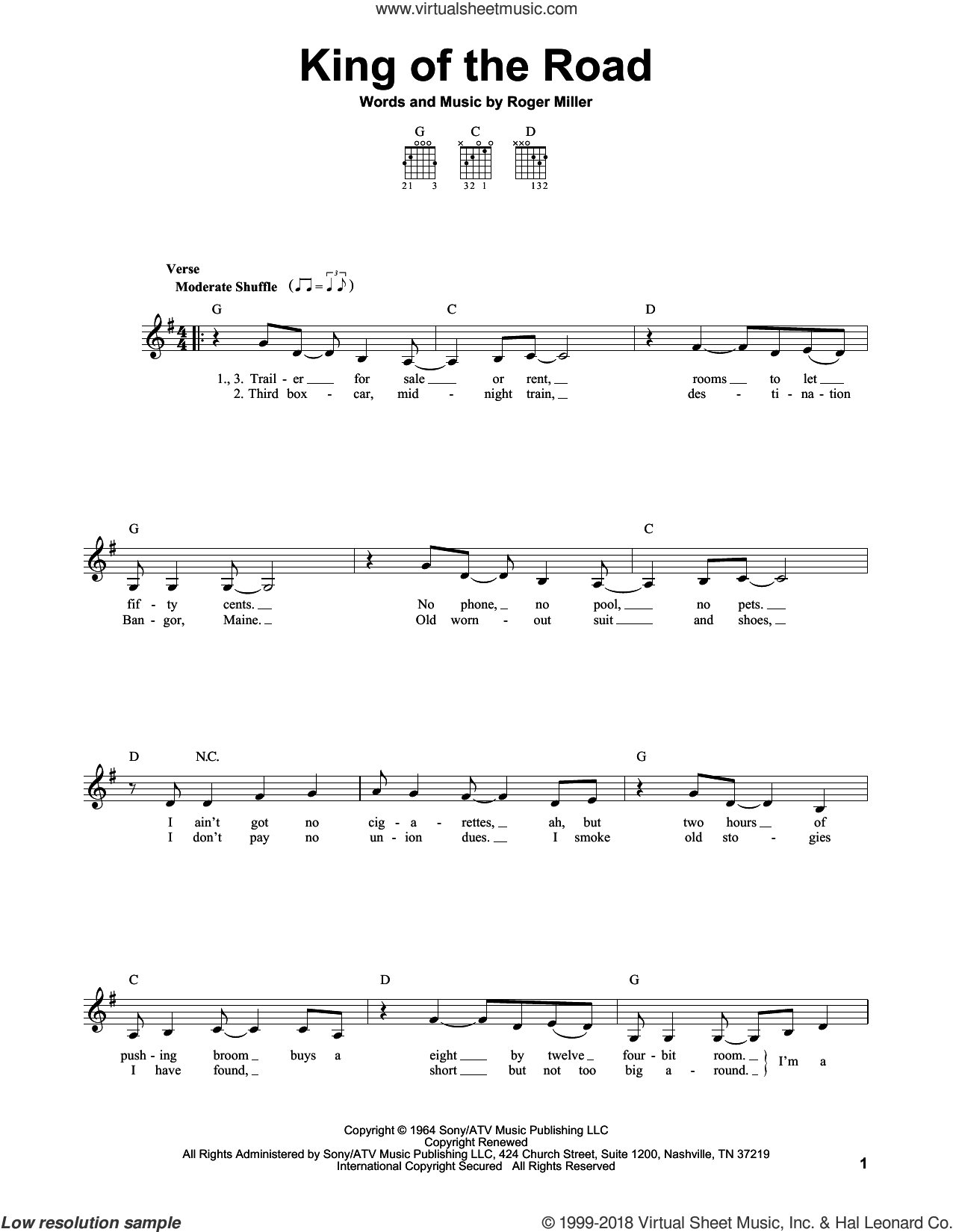 King Of The Road sheet music for guitar solo (chords) by Roger Miller and Randy Travis. Score Image Preview.