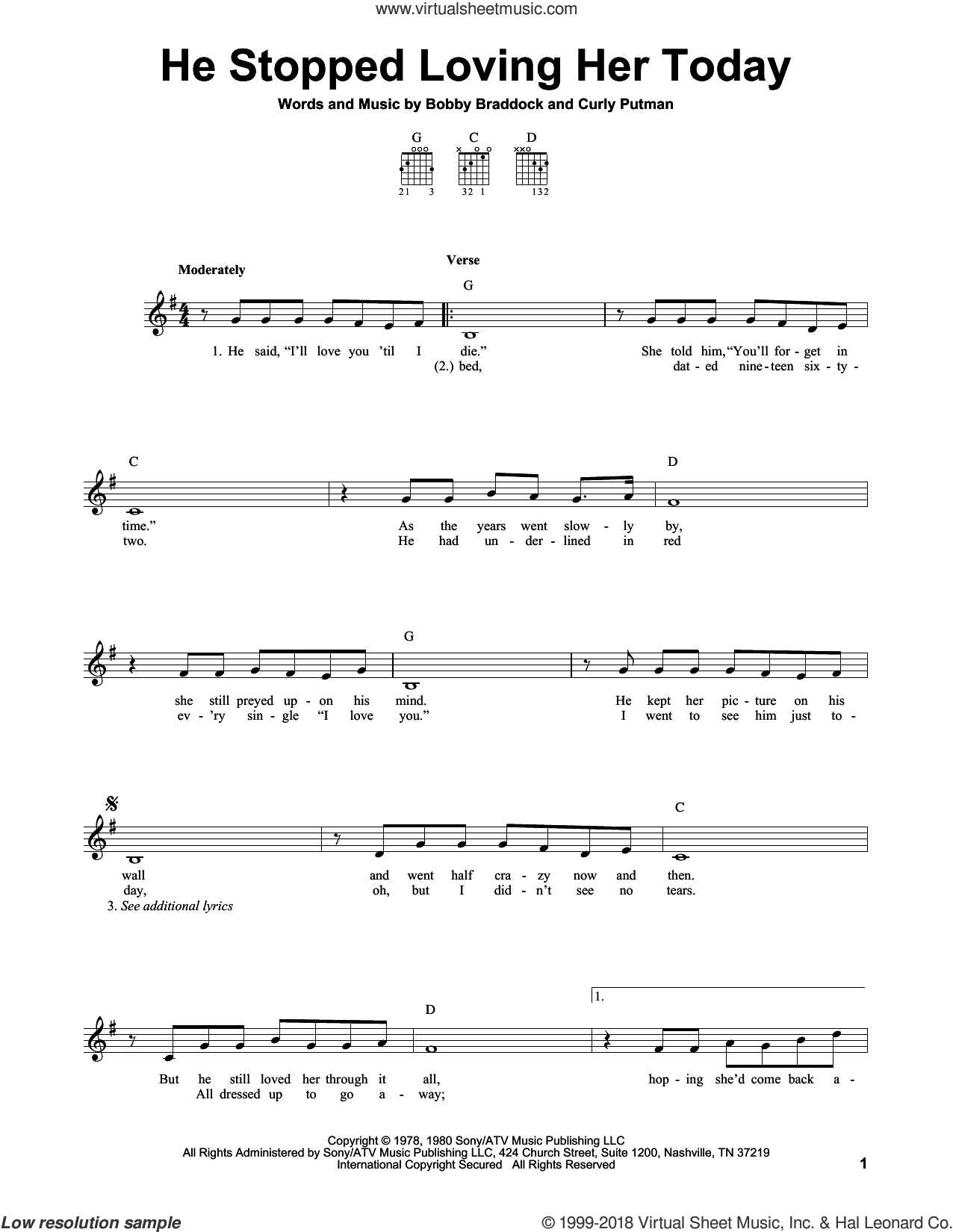 He Stopped Loving Her Today sheet music for guitar solo (chords) by George Jones, Bobby Braddock and Curly Putman, easy guitar (chords)