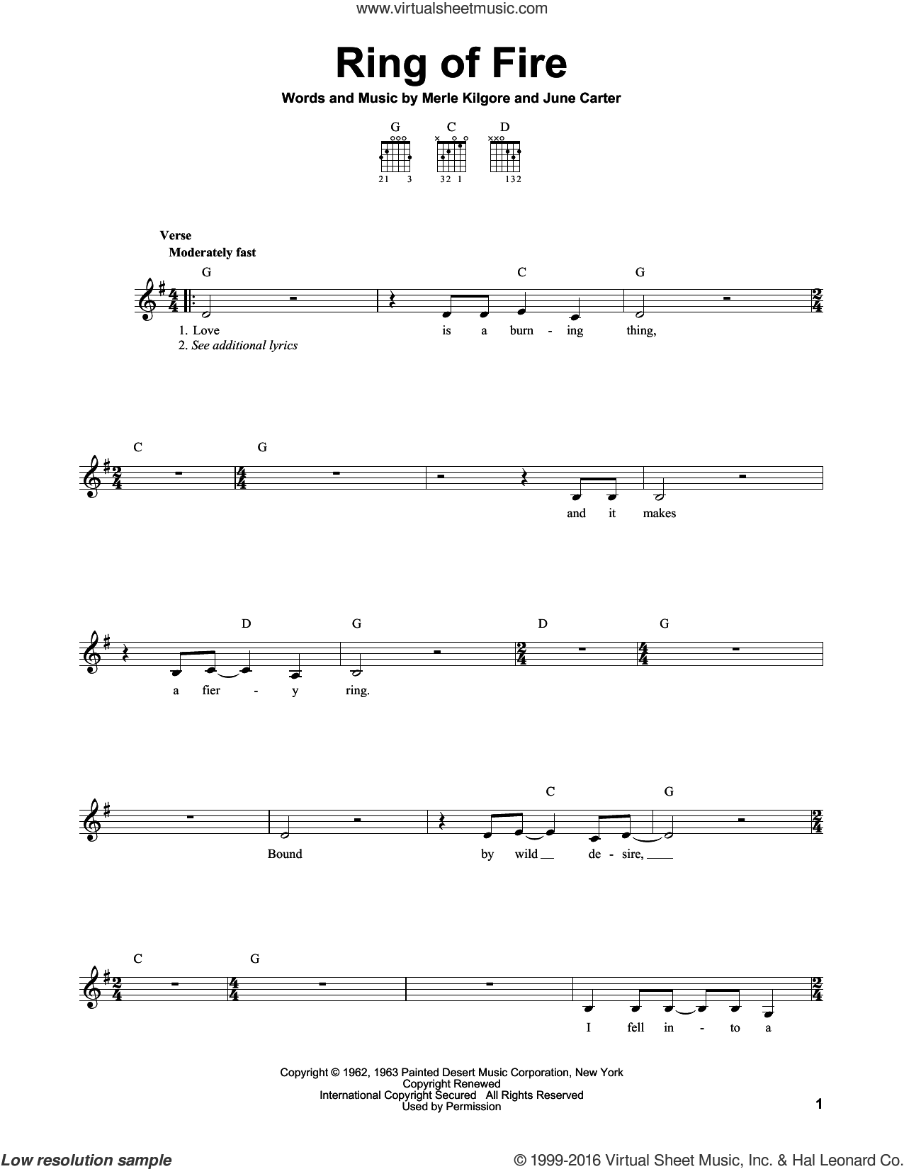 Ring Of Fire sheet music for guitar solo (chords) by Johnny Cash, Alan Jackson, June Carter and Merle Kilgore, easy guitar (chords)