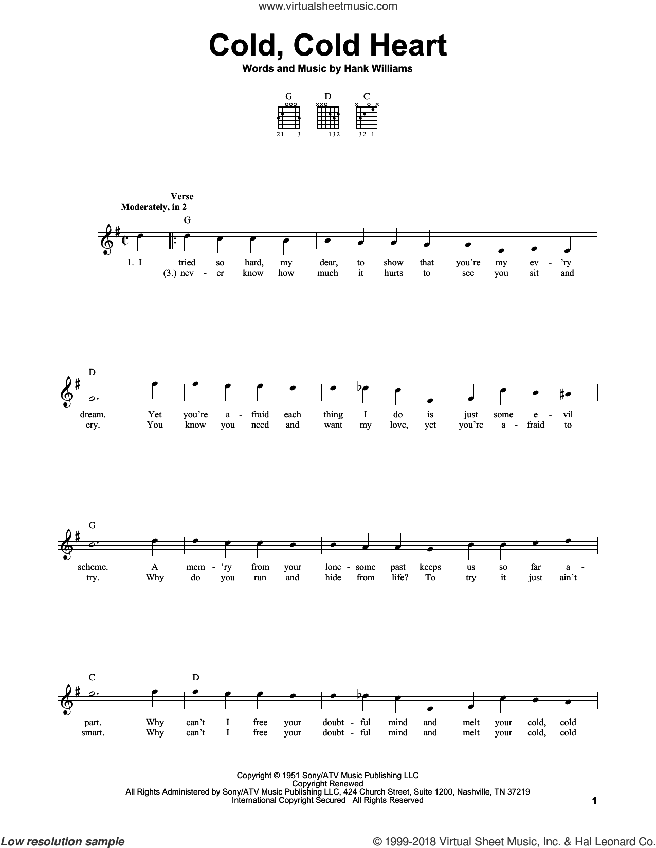 Cold, Cold Heart sheet music for guitar solo (chords) by Hank Williams and Tony Bennett, easy guitar (chords). Score Image Preview.