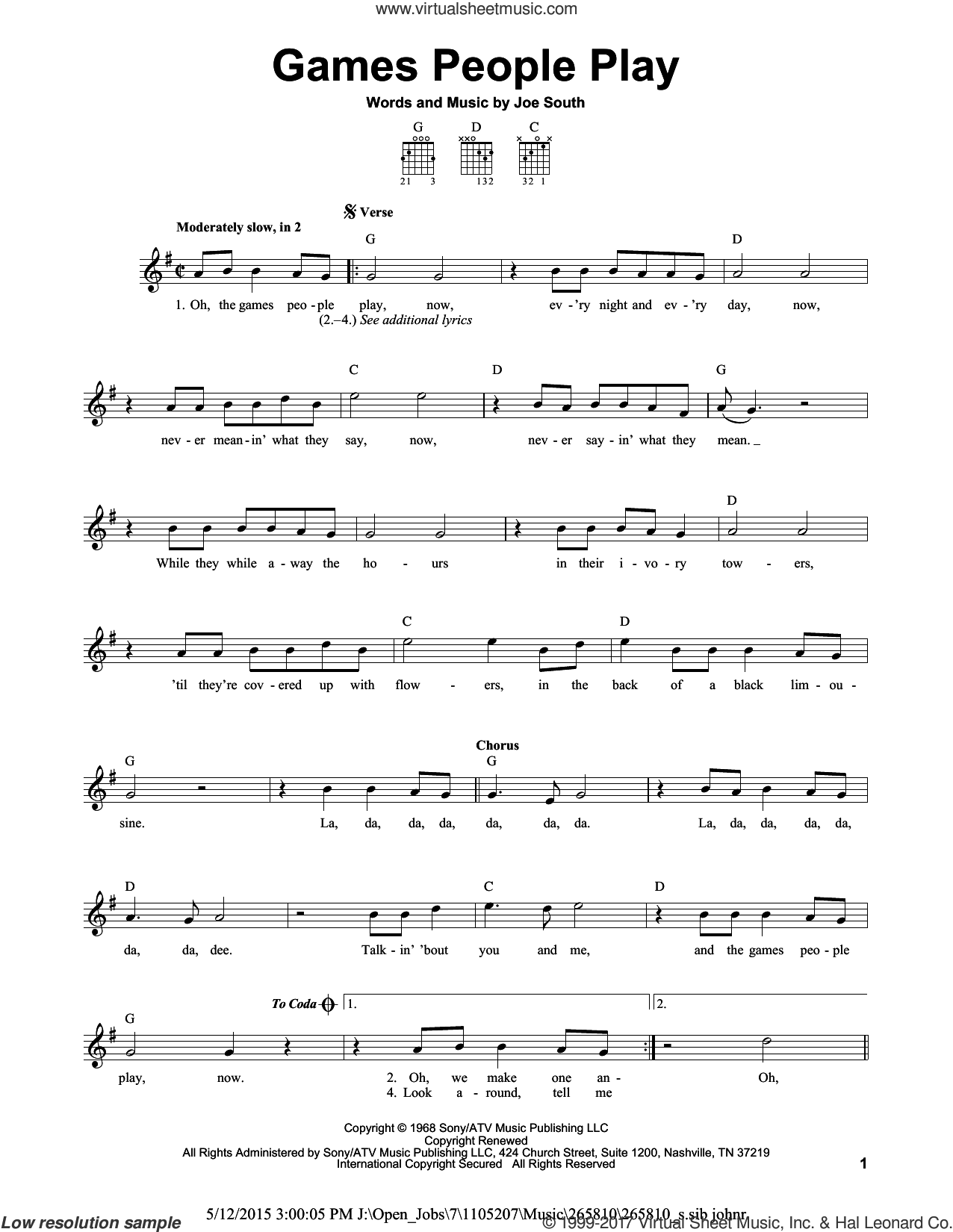 Games People Play sheet music for guitar solo (chords) by Joe South, easy guitar (chords)