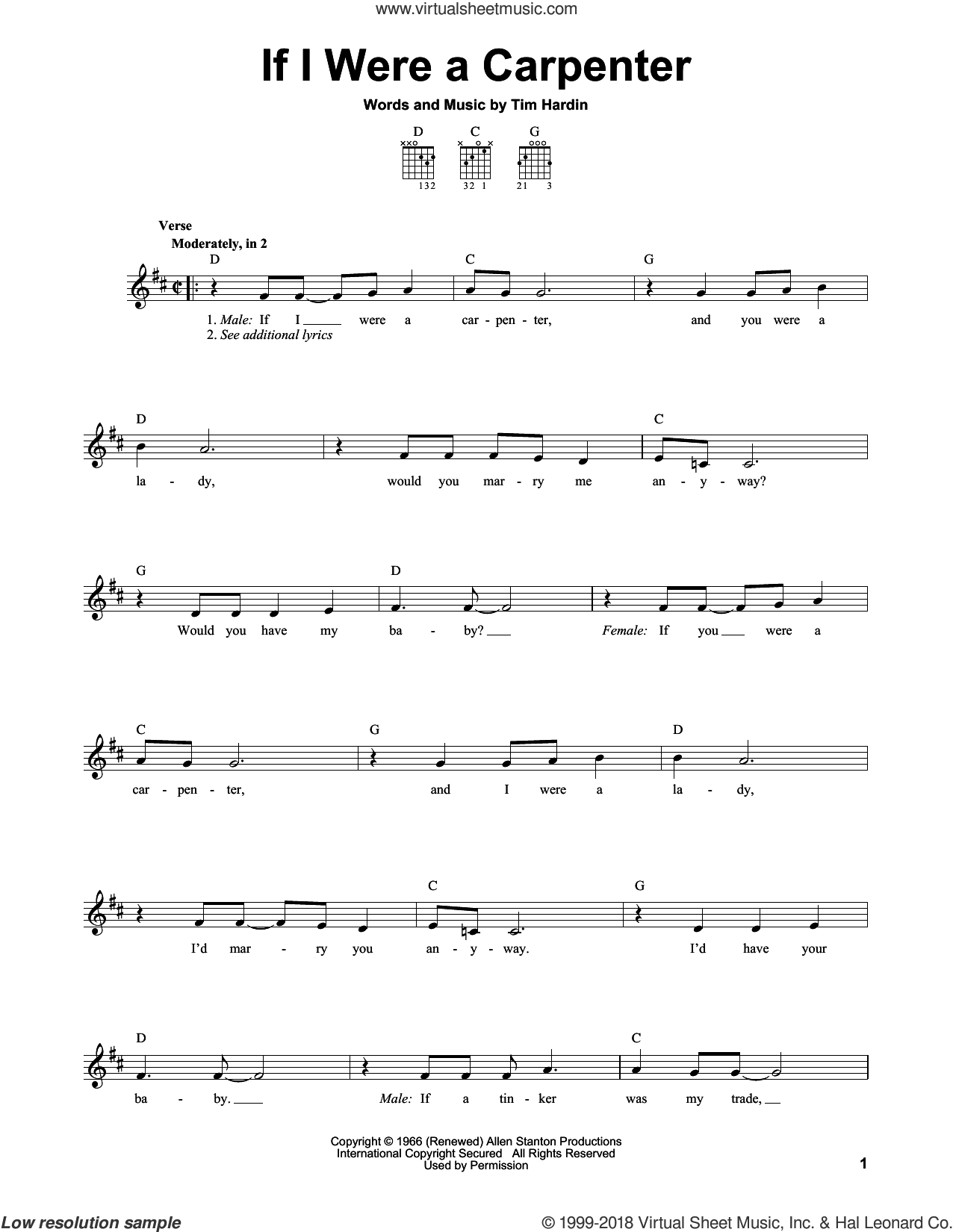 If I Were A Carpenter sheet music for guitar solo (chords) by Bobby Darin, Johnny Cash & June Carter and Tim Hardin, easy guitar (chords)
