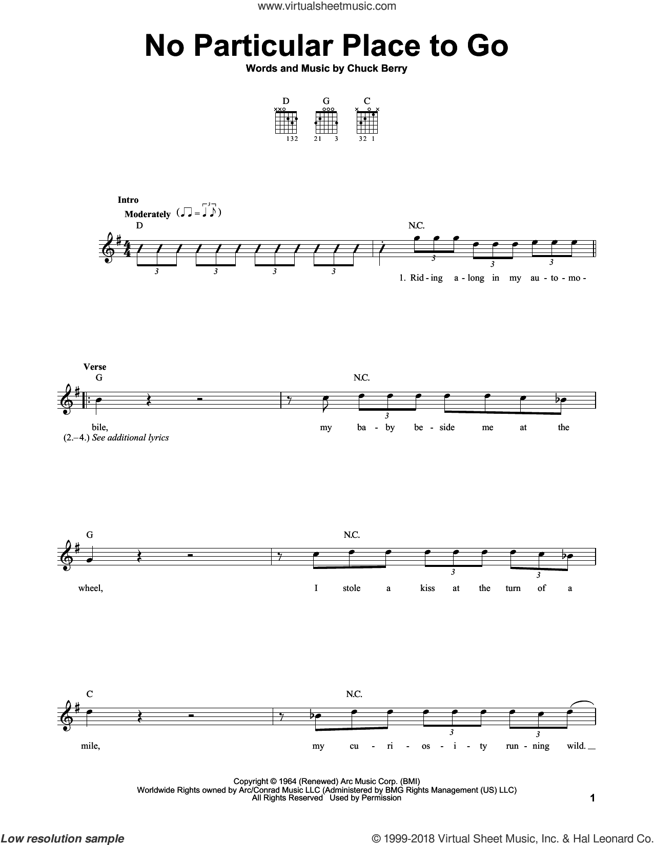 No Particular Place To Go sheet music for guitar solo (chords) by Chuck Berry, easy guitar (chords)