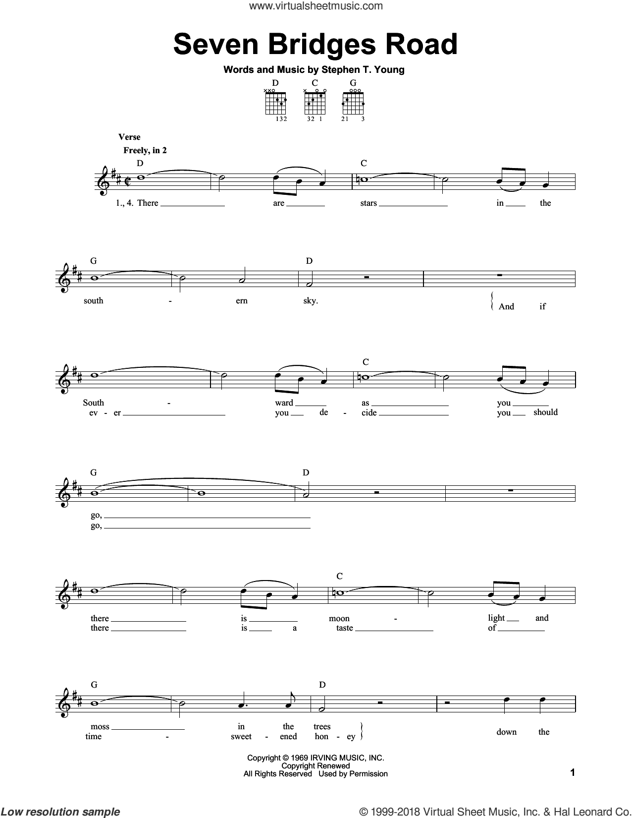 Seven Bridges Road sheet music for guitar solo (chords) by The Eagles and Stephen T. Young, easy guitar (chords)