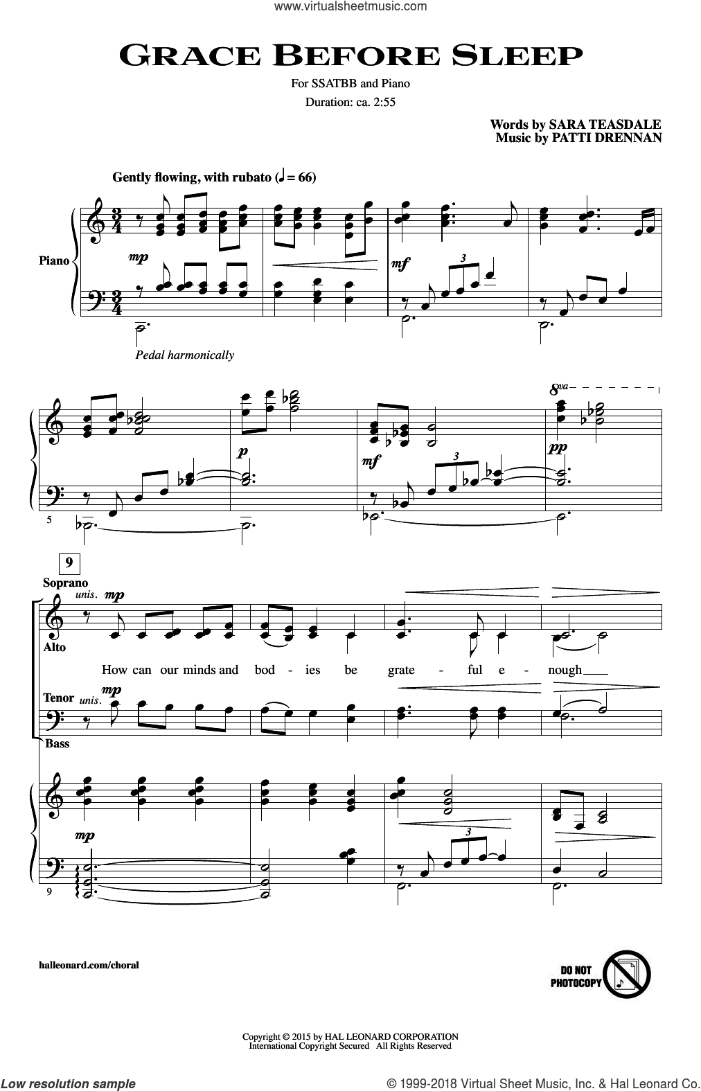 Grace Before Sleep sheet music for choir (SATB) by Sara Teasdale and Patti Drennan. Score Image Preview.