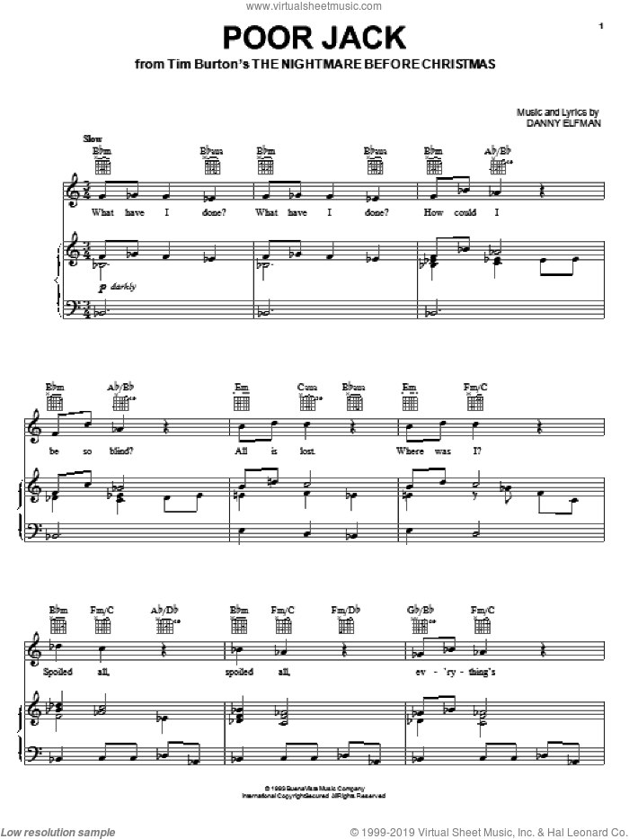 Poor Jack sheet music for voice, piano or guitar by Danny Elfman. Score Image Preview.