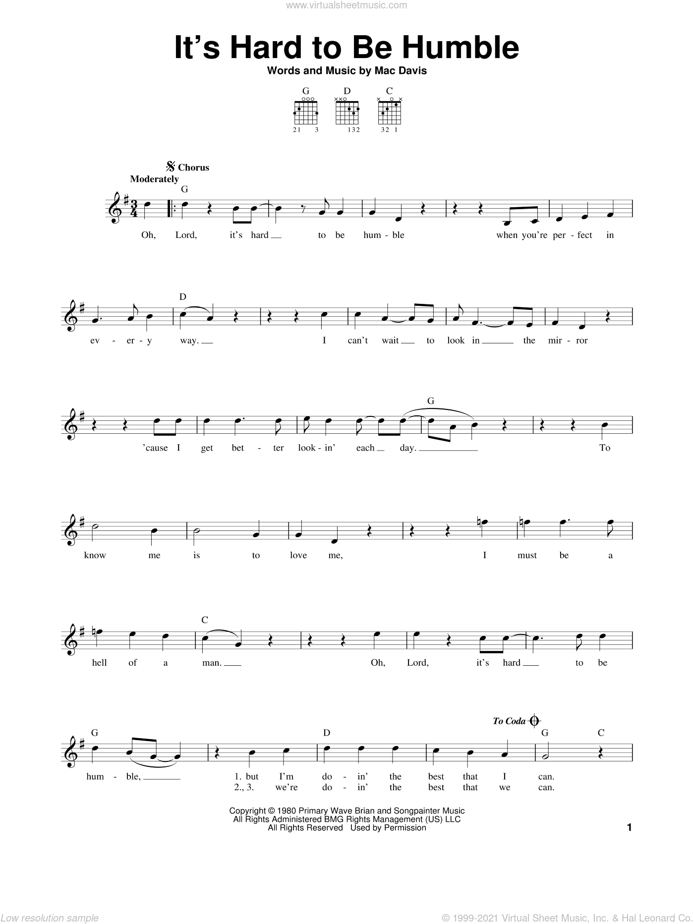 It's Hard To Be Humble sheet music for guitar solo (chords) by Mac Davis, easy guitar (chords). Score Image Preview.