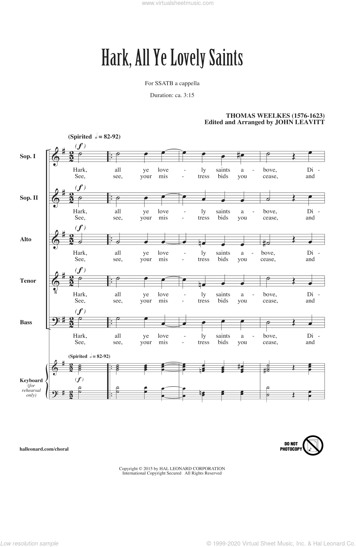 Hark All Ye Lovely Saints sheet music for choir and piano (SATB) by John Leavitt and Thomas Weelkes. Score Image Preview.