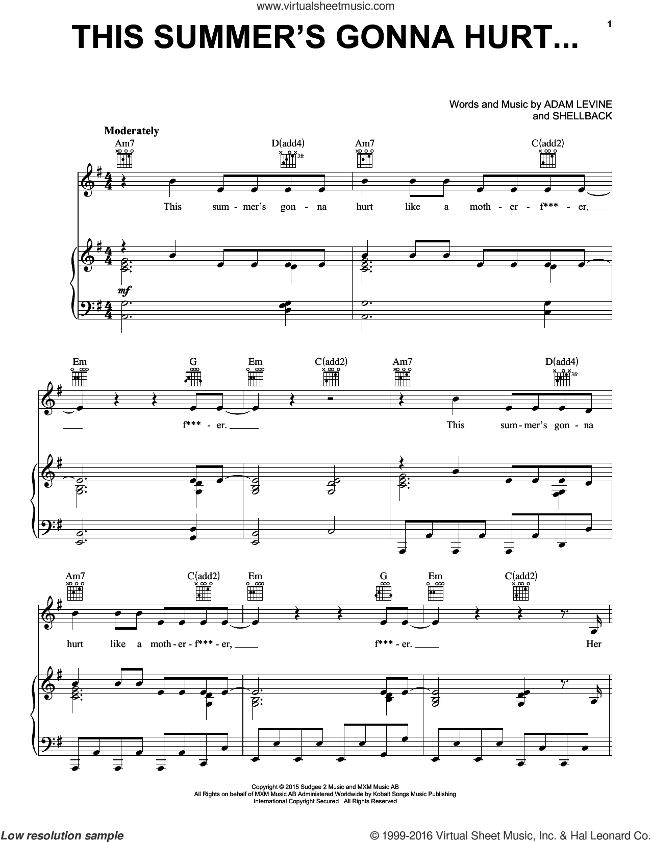 This Summer's Gonna Hurt Like A Motherf***er sheet music for voice, piano or guitar by Shellback
