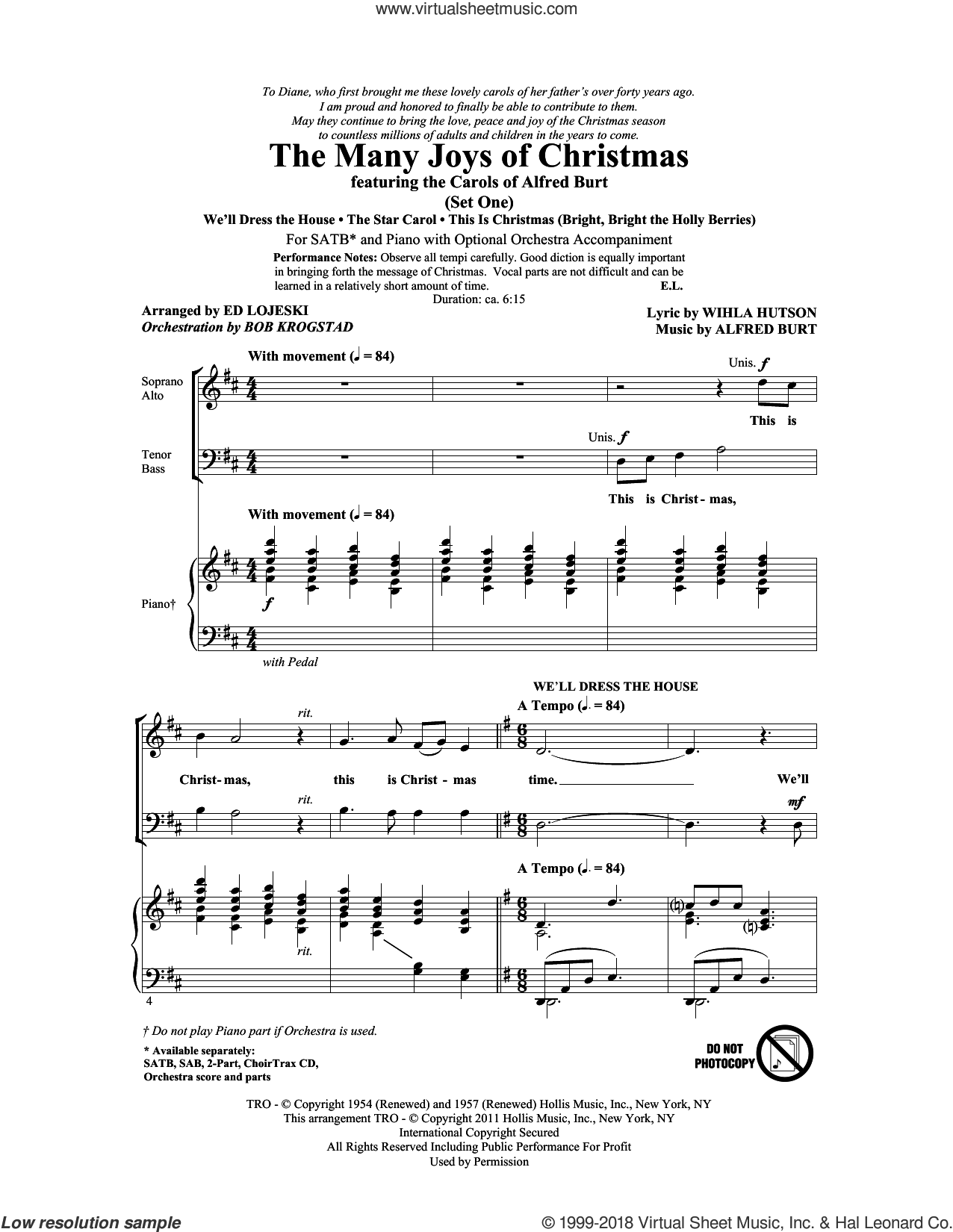 The Many Joys Of Christmas (featuring The Carols of Alfred Burt) Set 1 sheet music for choir (SATB: soprano, alto, tenor, bass) by Ed Lojeski, Alfred Burt, Bob Krogstad and Wihla Hutson, intermediate. Score Image Preview.