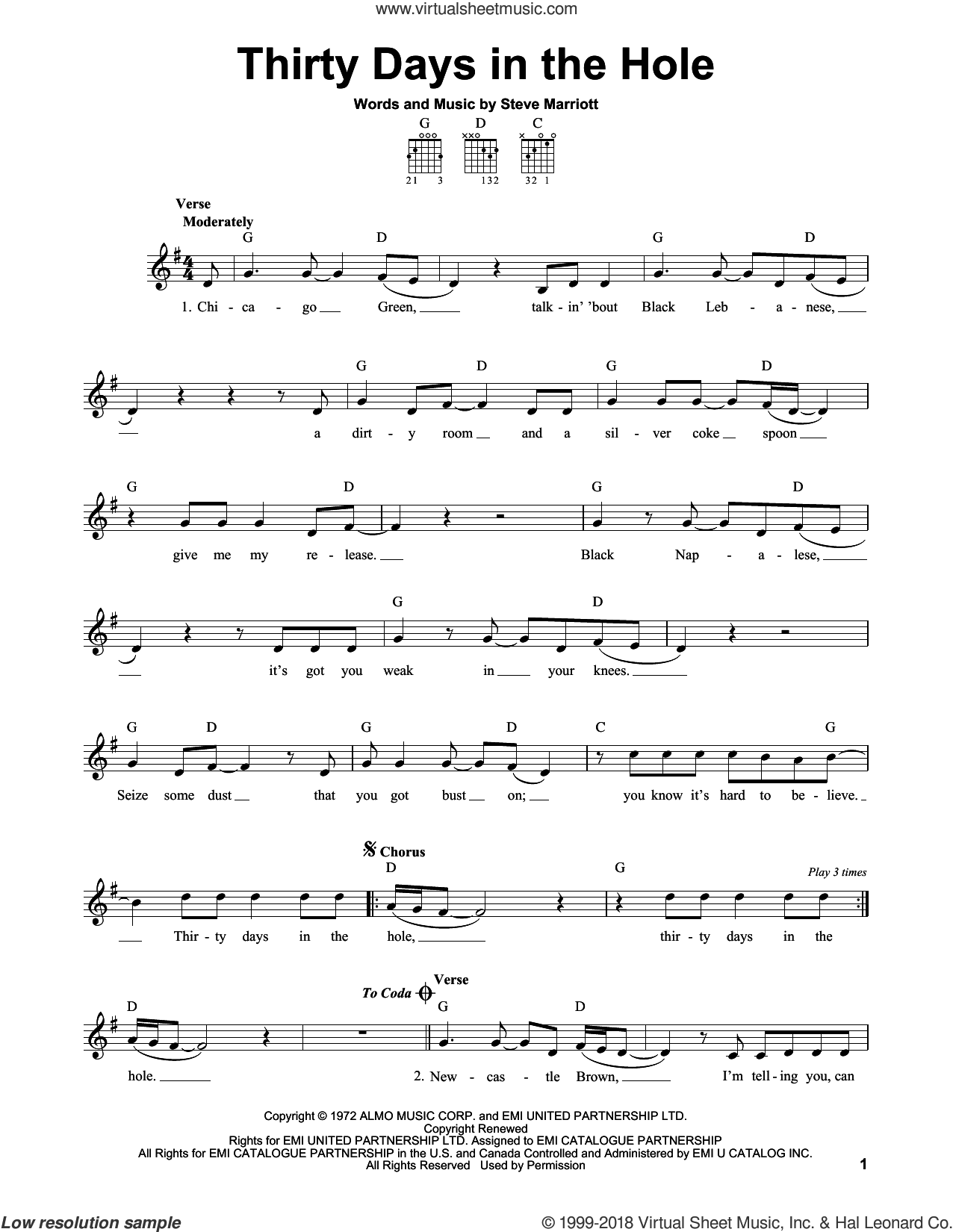 Thirty Days In The Hole sheet music for guitar solo (chords) by Humble Pie and Steve Marriott, easy guitar (chords). Score Image Preview.