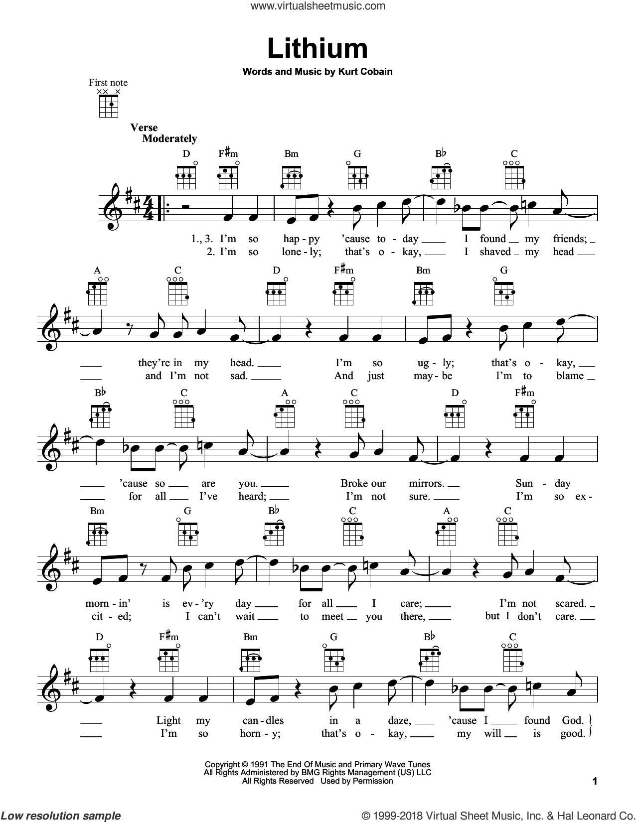 Lithium sheet music for ukulele by Kurt Cobain and Nirvana. Score Image Preview.