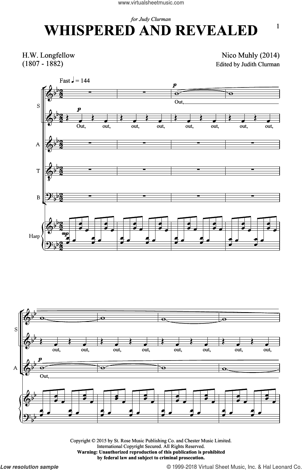Whispered And Revealed sheet music for choir (SATB: soprano, alto, tenor, bass) by Nico Muhly, intermediate skill level