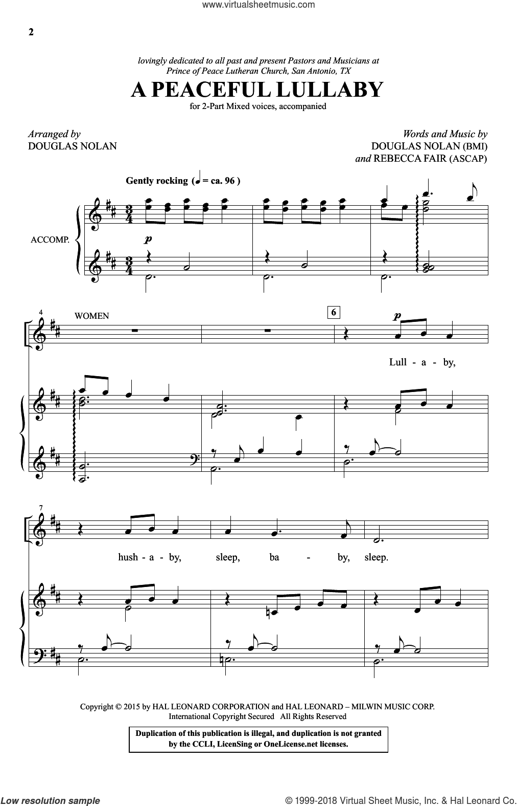 A Peaceful Lullaby sheet music for choir and piano (duets) by Rebecca Fair and Douglas Nolan. Score Image Preview.