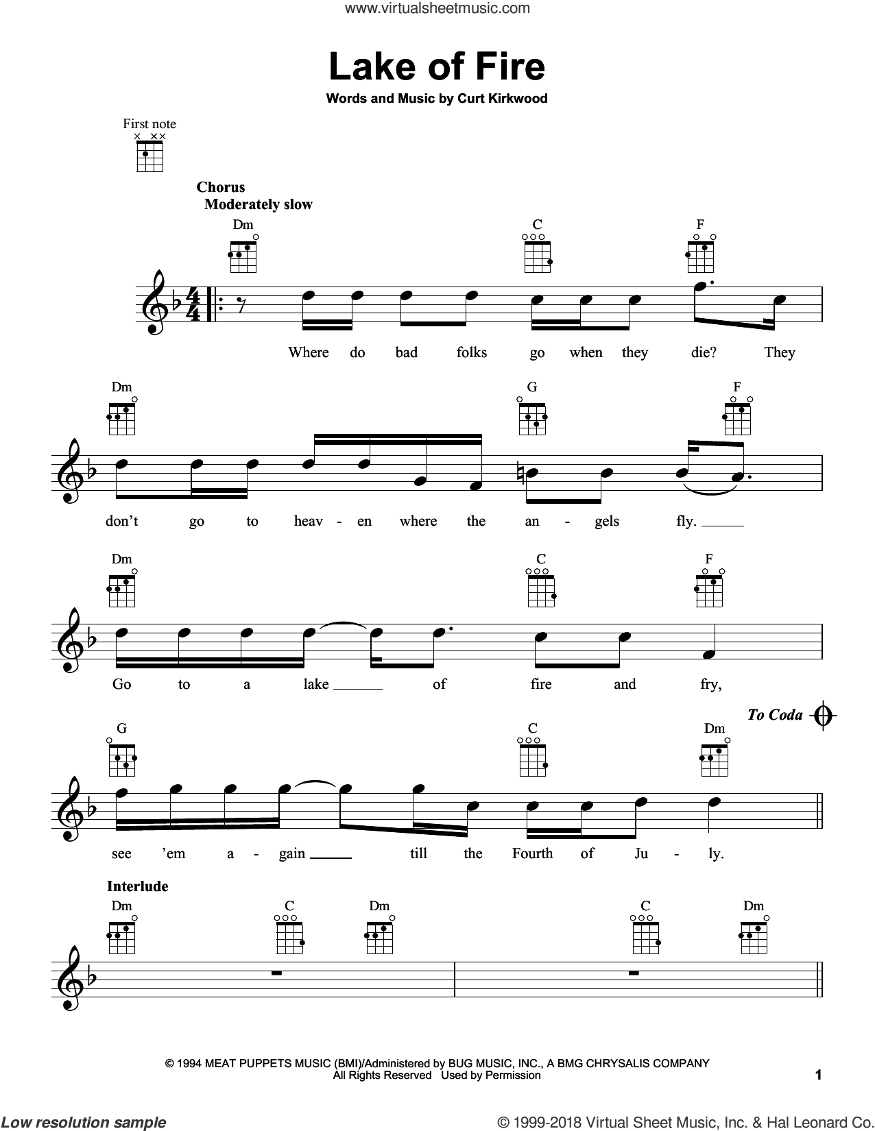 Lake Of Fire sheet music for ukulele by Nirvana and Curt Kirkwood, intermediate skill level
