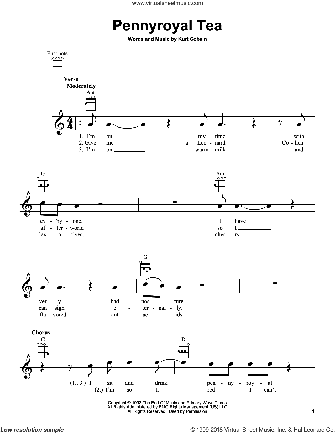 Pennyroyal Tea sheet music for ukulele by Nirvana and Kurt Cobain, intermediate skill level