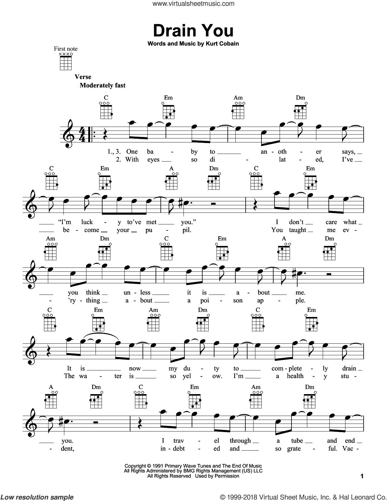 Drain You sheet music for ukulele by Nirvana, intermediate. Score Image Preview.