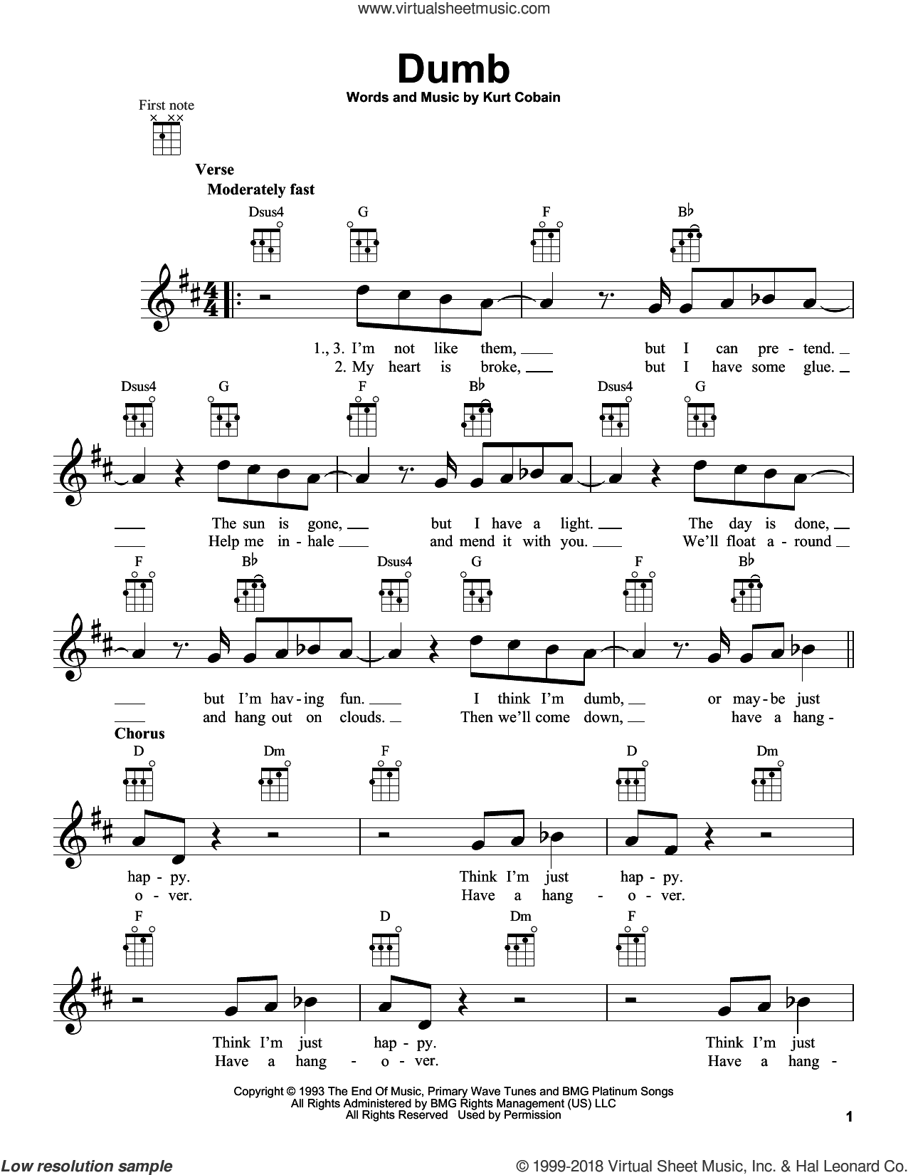 Dumb sheet music for ukulele by Nirvana and Kurt Cobain, intermediate skill level