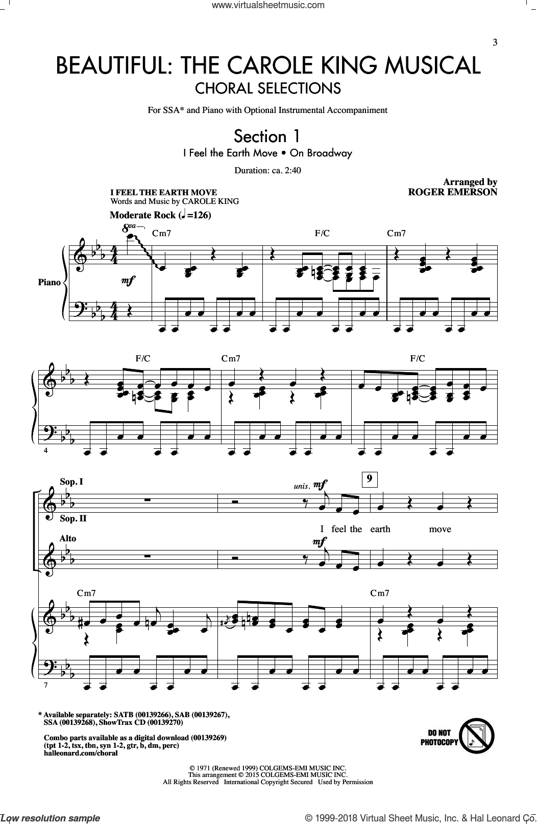 Beautiful: The Carole King Musical (Choral Selections) sheet music for choir and piano (SSA) by Roger Emerson and Carole King. Score Image Preview.